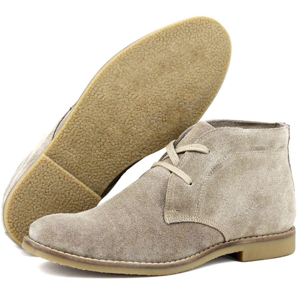 Botina luxury desert boots chelsea com cadarço na cor bege e sola de borracha