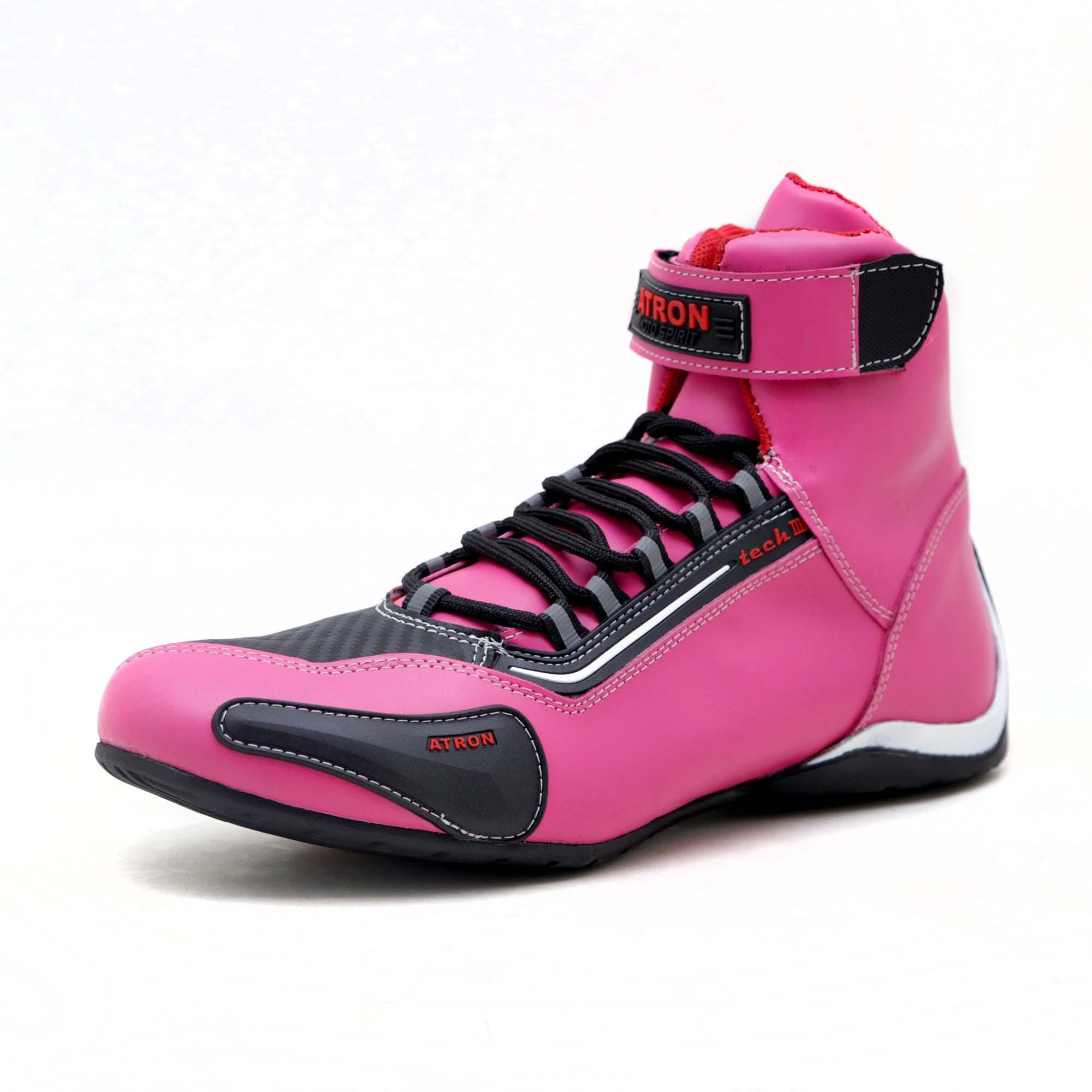 KIT CHINELO Tênis motociclista cano alto em couro legítimo nas cores pink preto 311