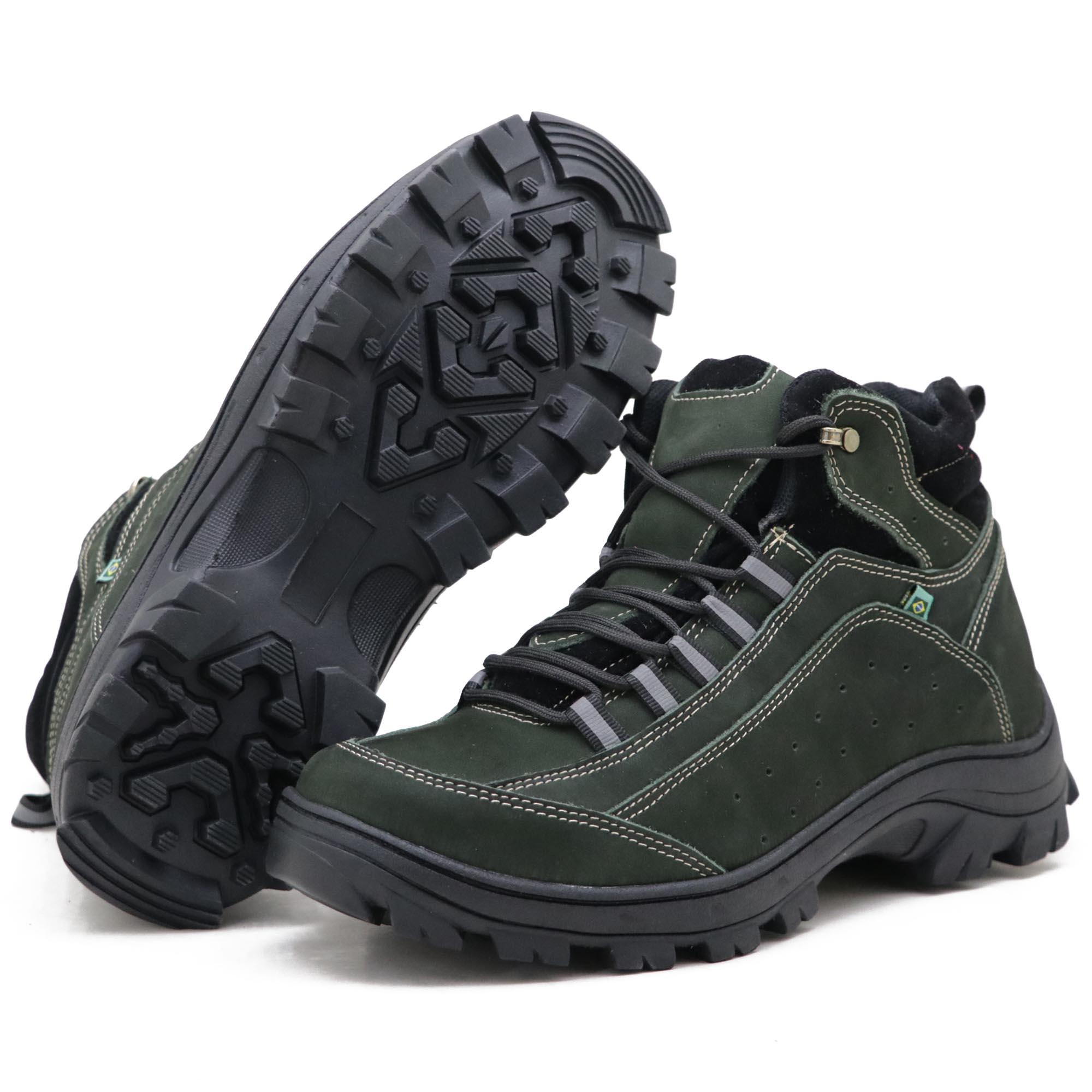 Coturno Adventure Atron Shoes para Trilha em Couro Legítimo Na Cor Verde Militar 019
