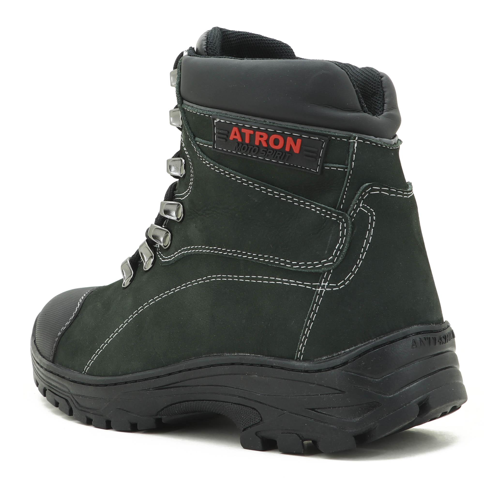 Coturno Adventure Atron Shoes Trekking em couro legítimo na cor verde 244 VALLENCE
