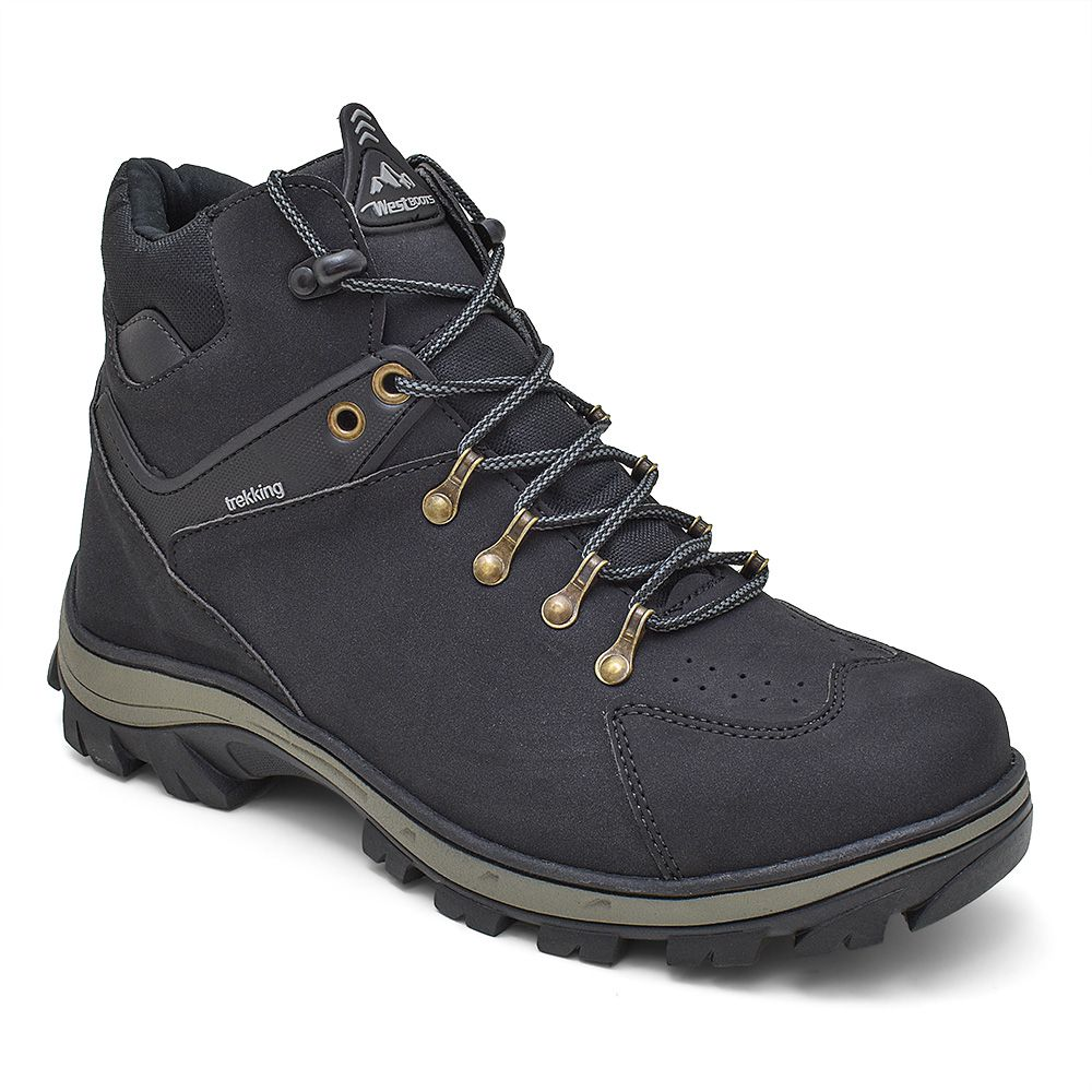 Coturno Adventure masculino para trekking em sintético na cor preta 144