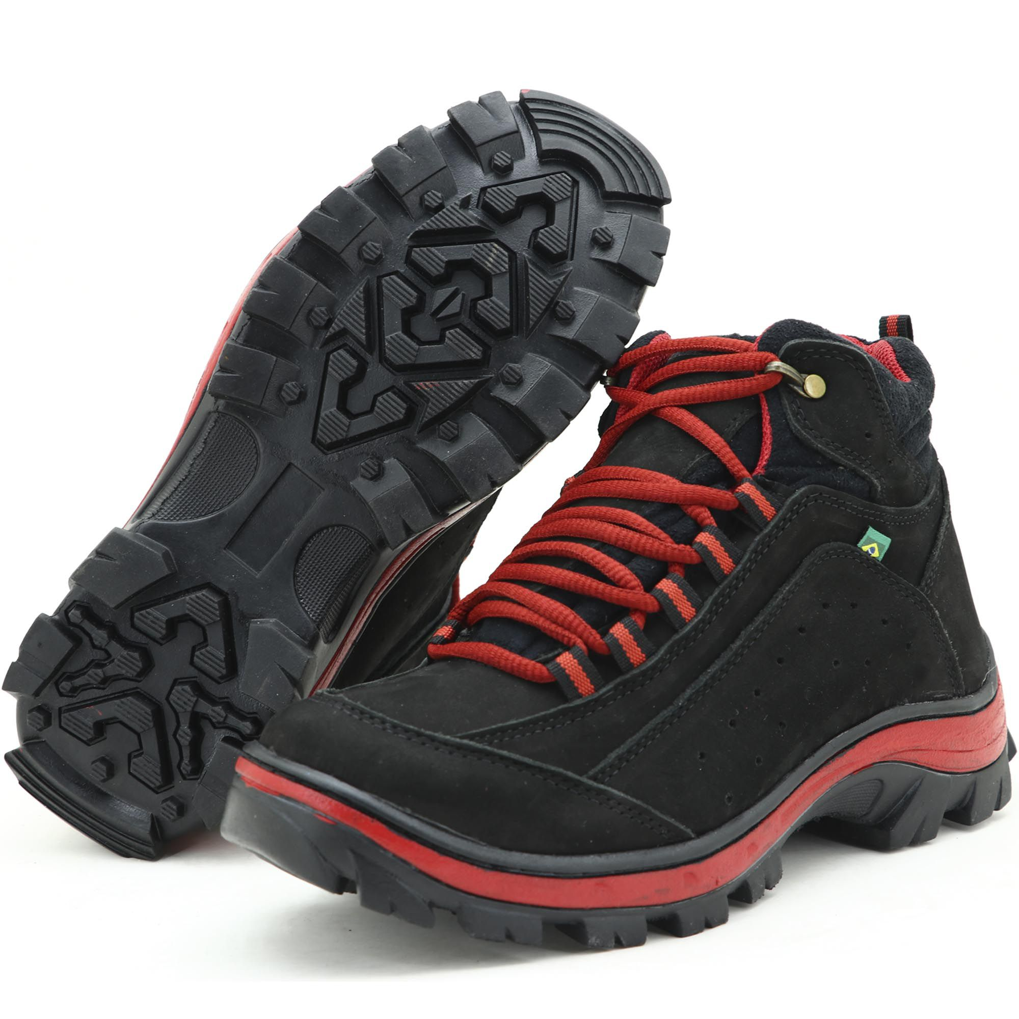Coturno Adventure para trekking em couro preto e vermelho 019