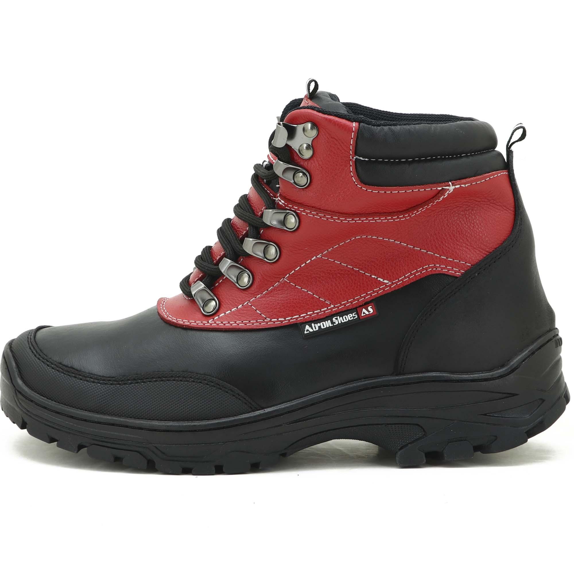 Coturno adventure trekking em couro legitimo preto e vermelho 246