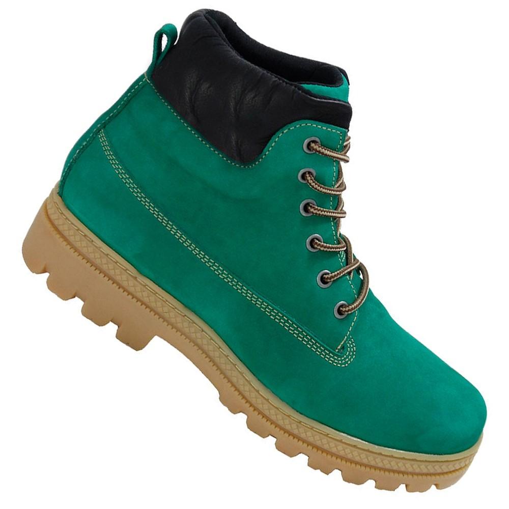 Coturno Adventure Trekking verde em couro legítimo nobuck kit chinelo e carteira 256