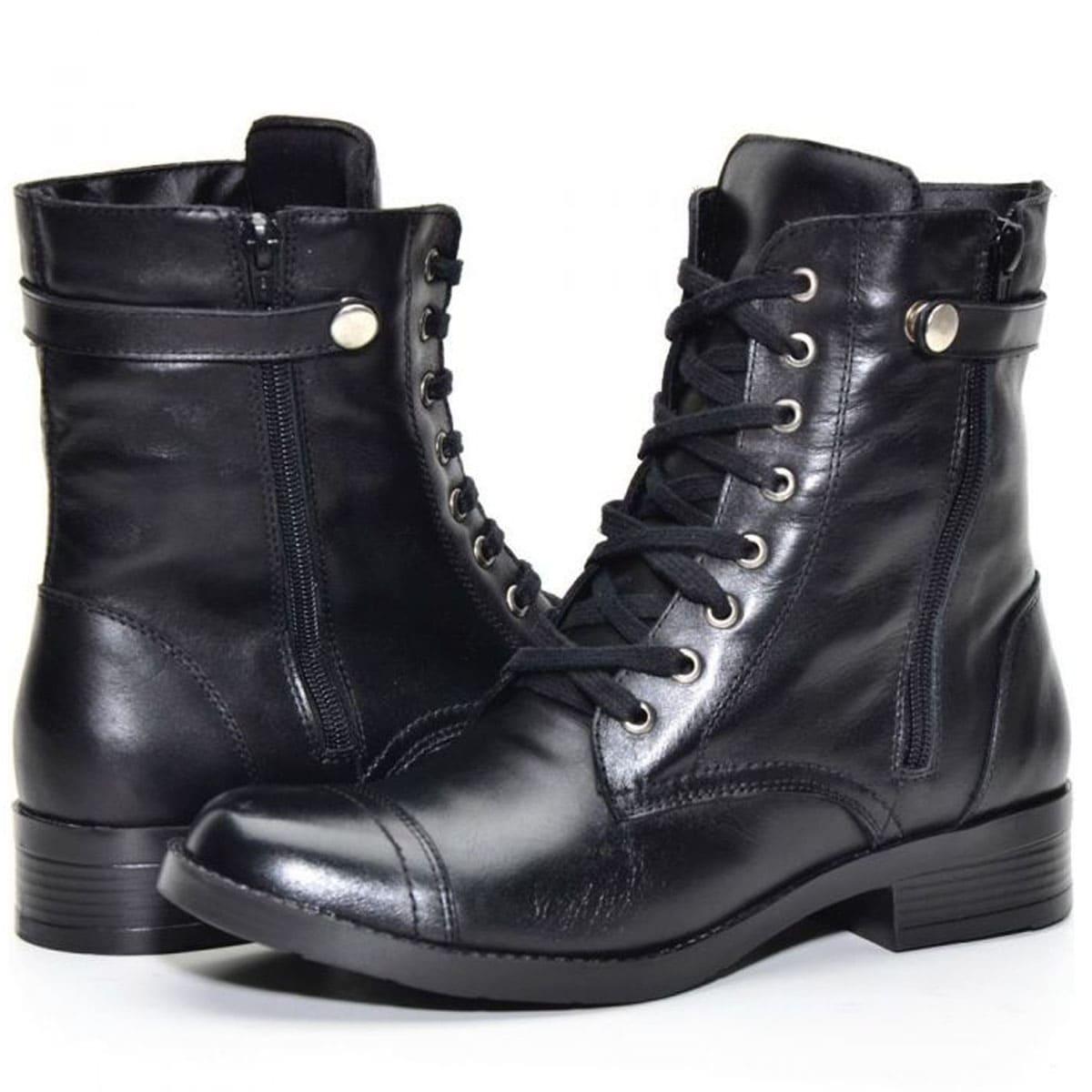 Coturno  cano médio feminino Atron Shoes de couro legítimo na cor preta 7080