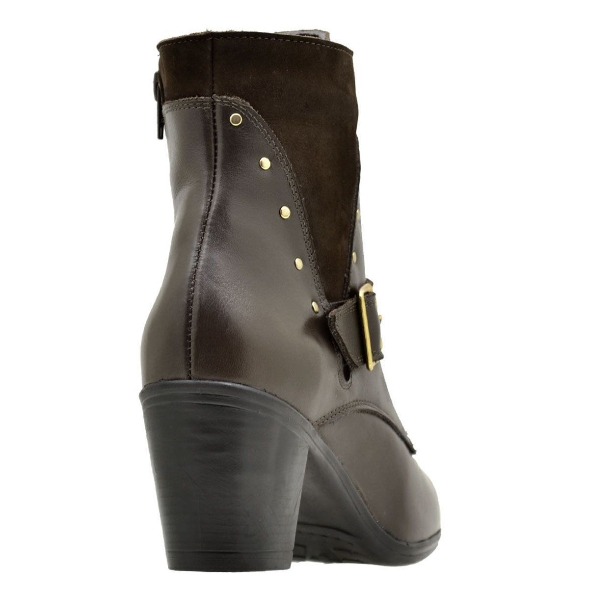 Coturno feminino Atron Shoes de couro na cor café 9066
