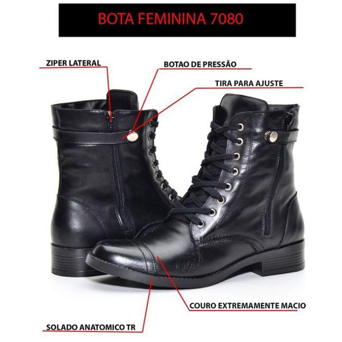 Coturno de cano médio feminino de couro legítimo na cor preta