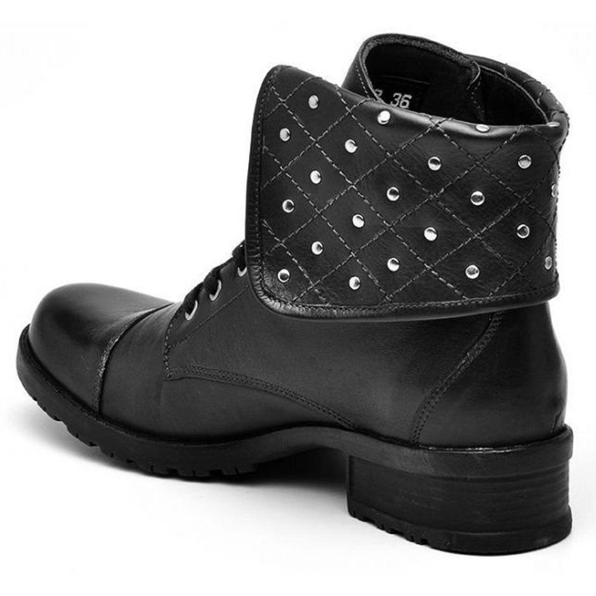 Coturno feminino couro legítimo 7502 preto