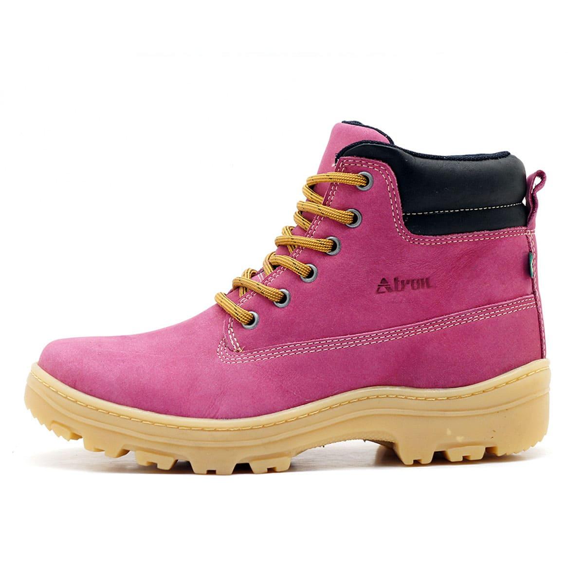 Coturno Feminino Couro Nobuck Pink 256