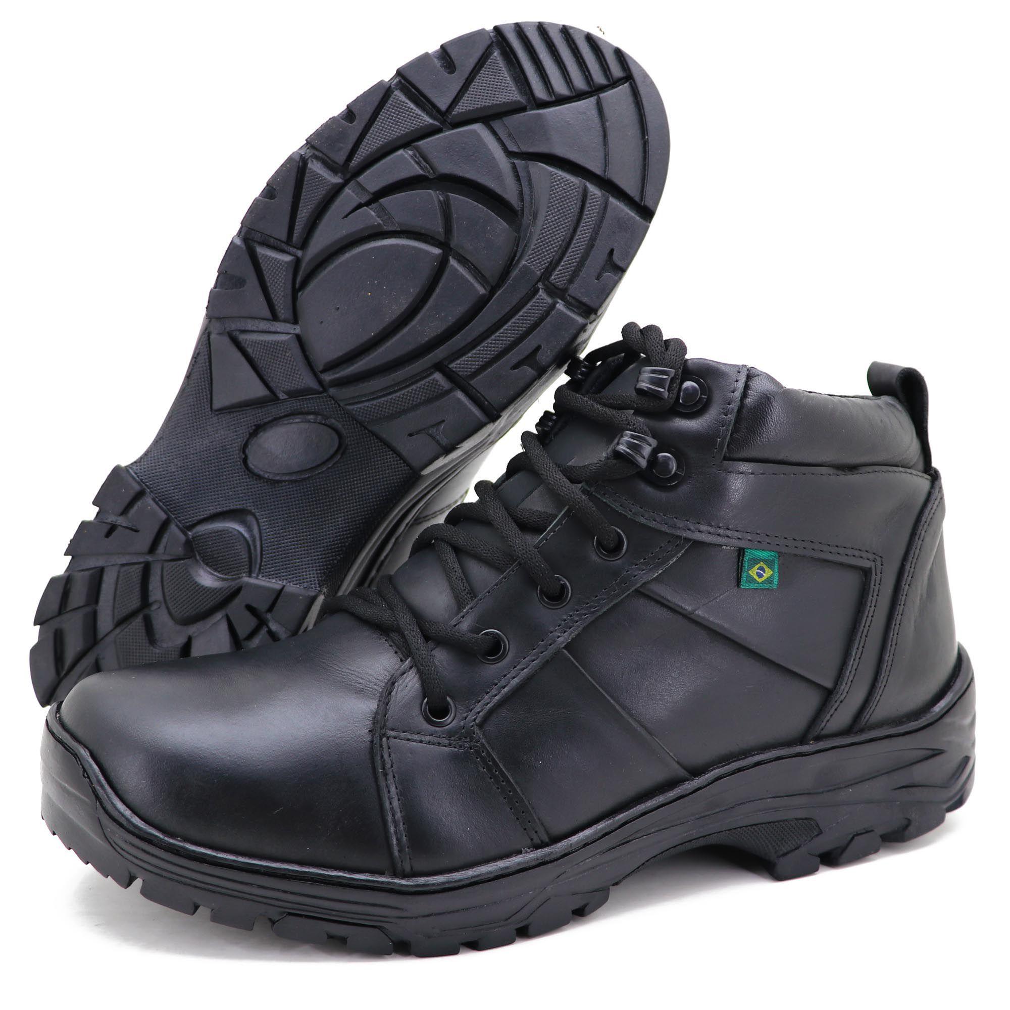 fab094595 Coturno militar de couro na cor preta, macio, leve e super resistente