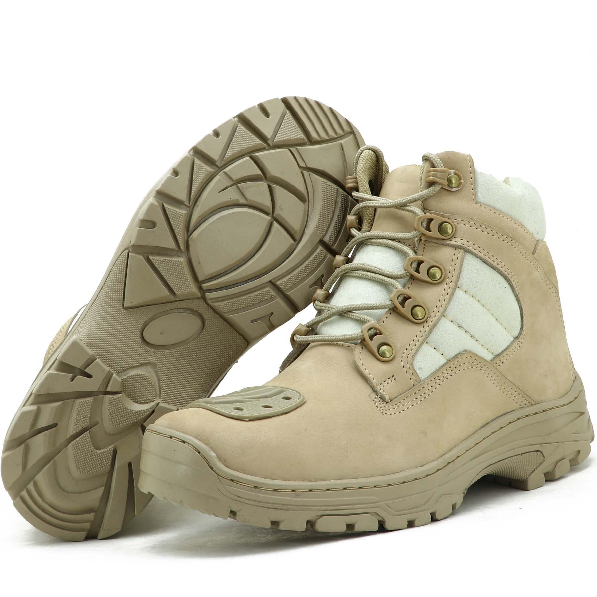 Coturno militar DUST Atron Shoes em couro legítimo na cor areia 245