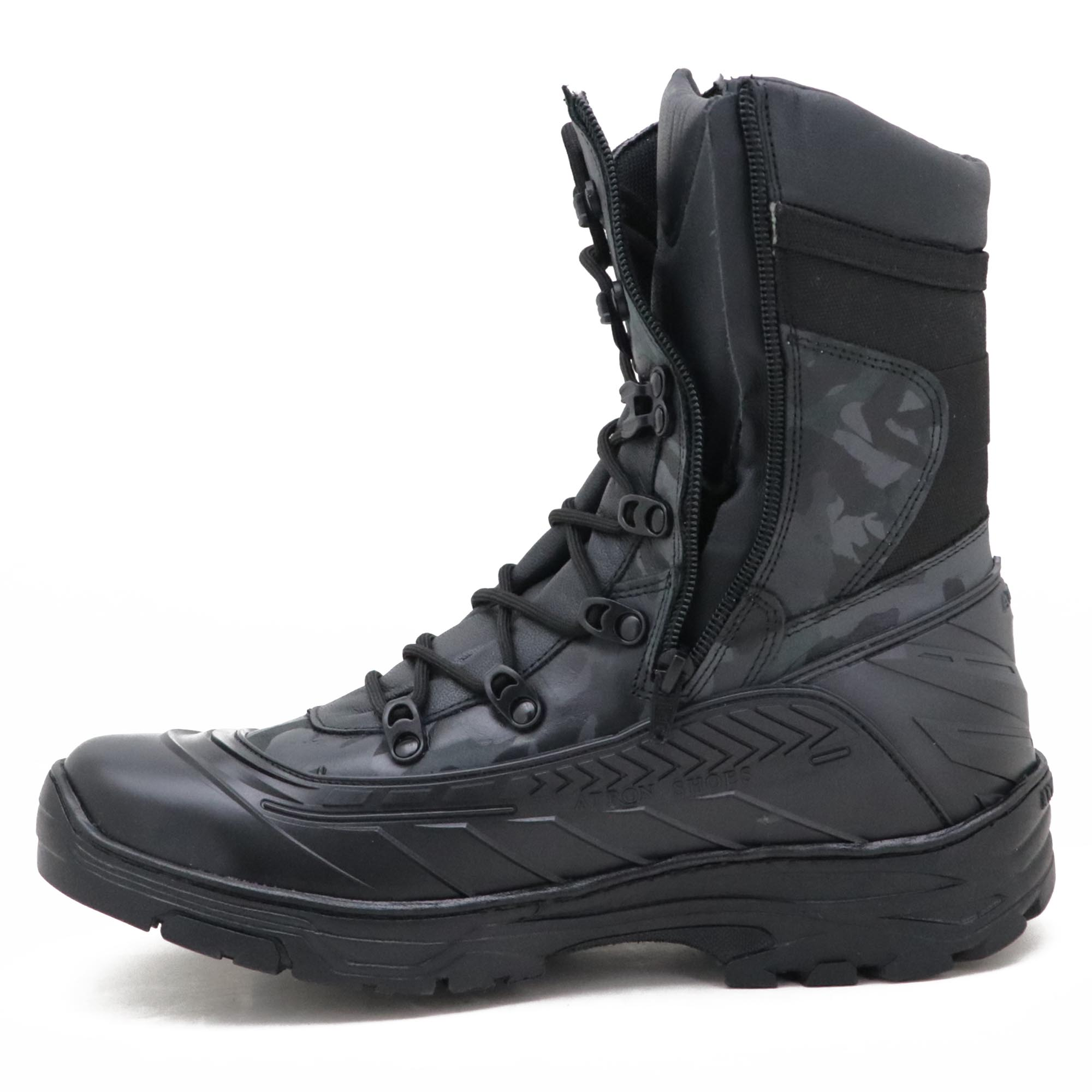 Coturno militar emborrachado em couro legítimo na cor cinza camuflado 289