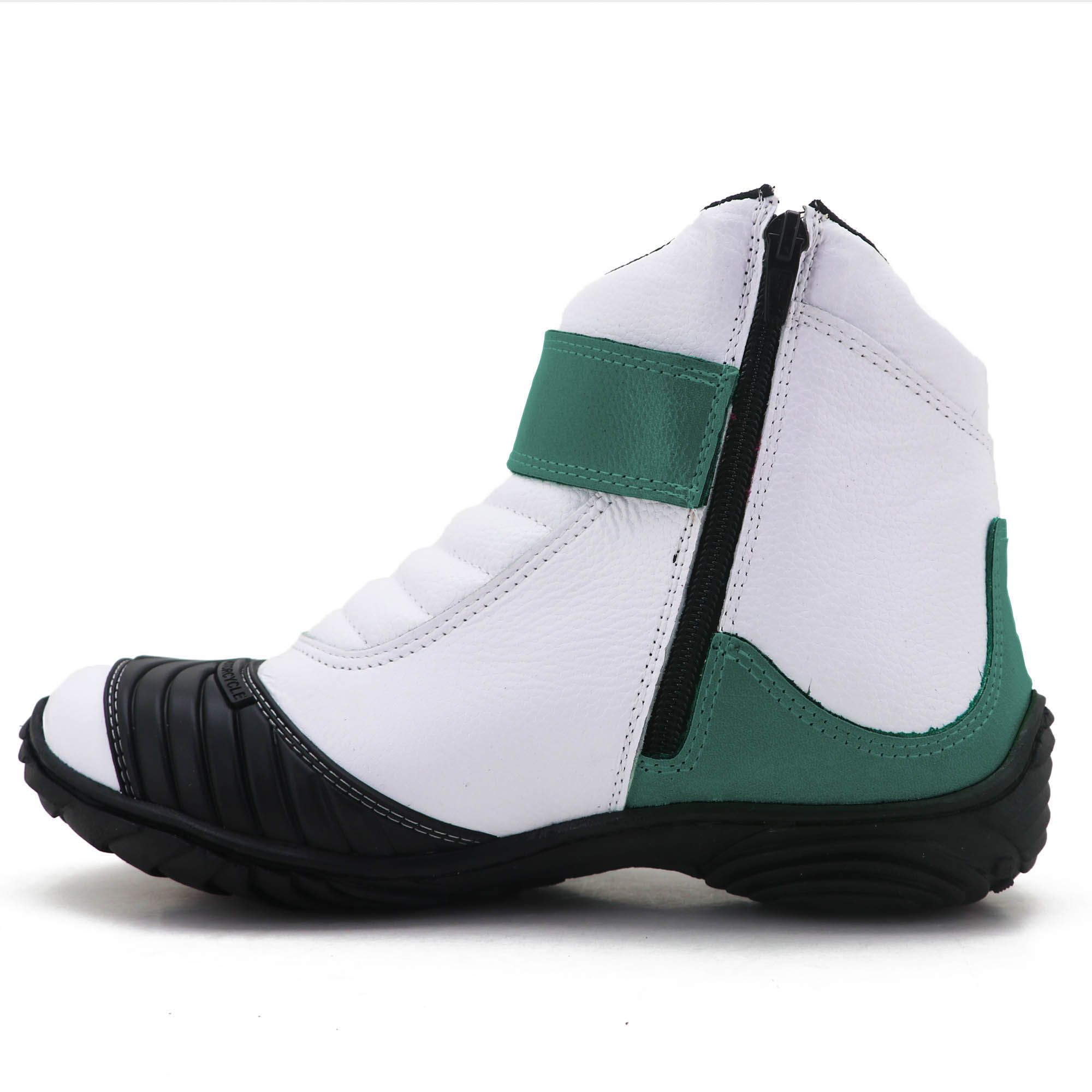 Bota para motociclista de couro branco e verde bandeira 271