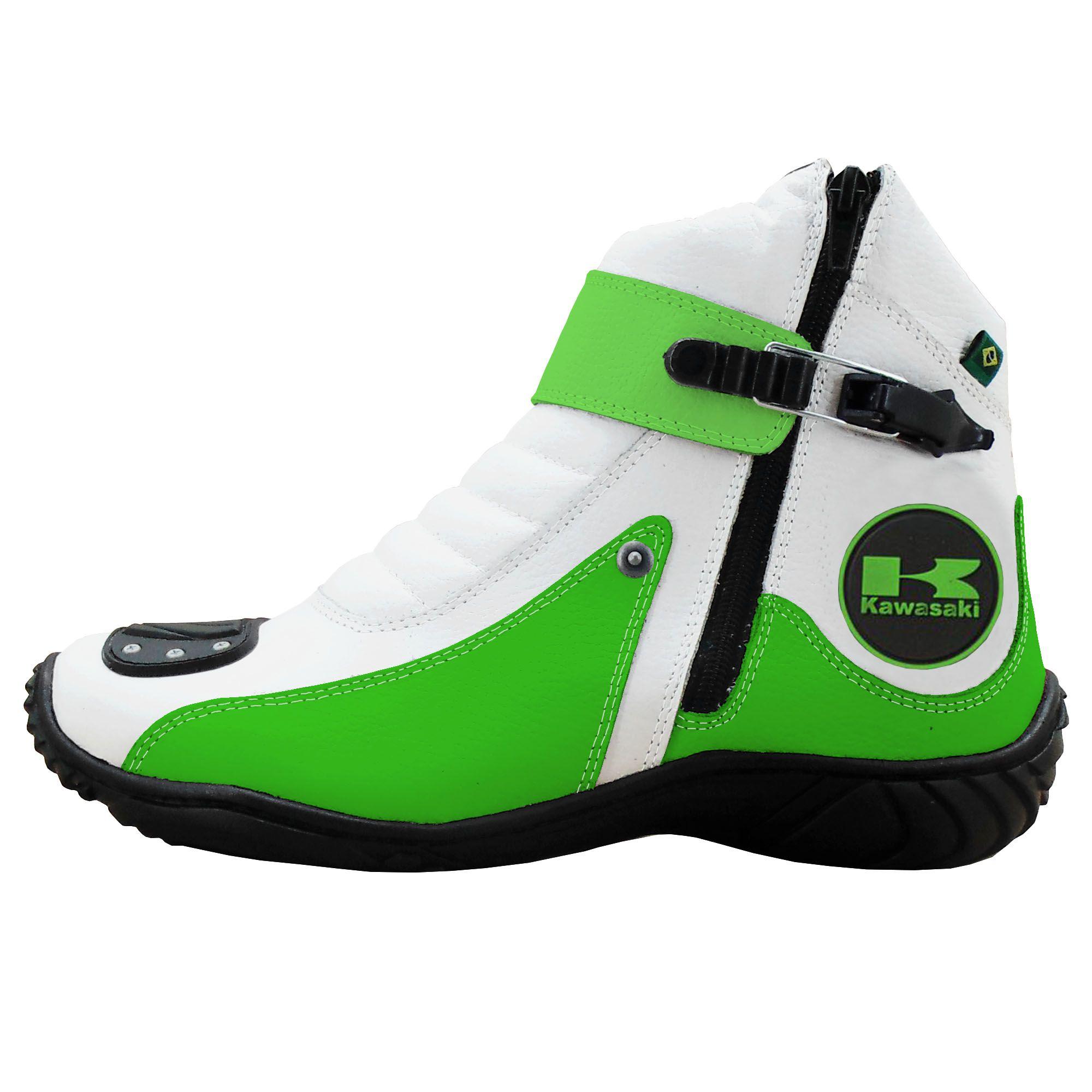 Coturno Motociclista em Couro Legítimo 271 Personalizado Kawasaki Branco com Verde