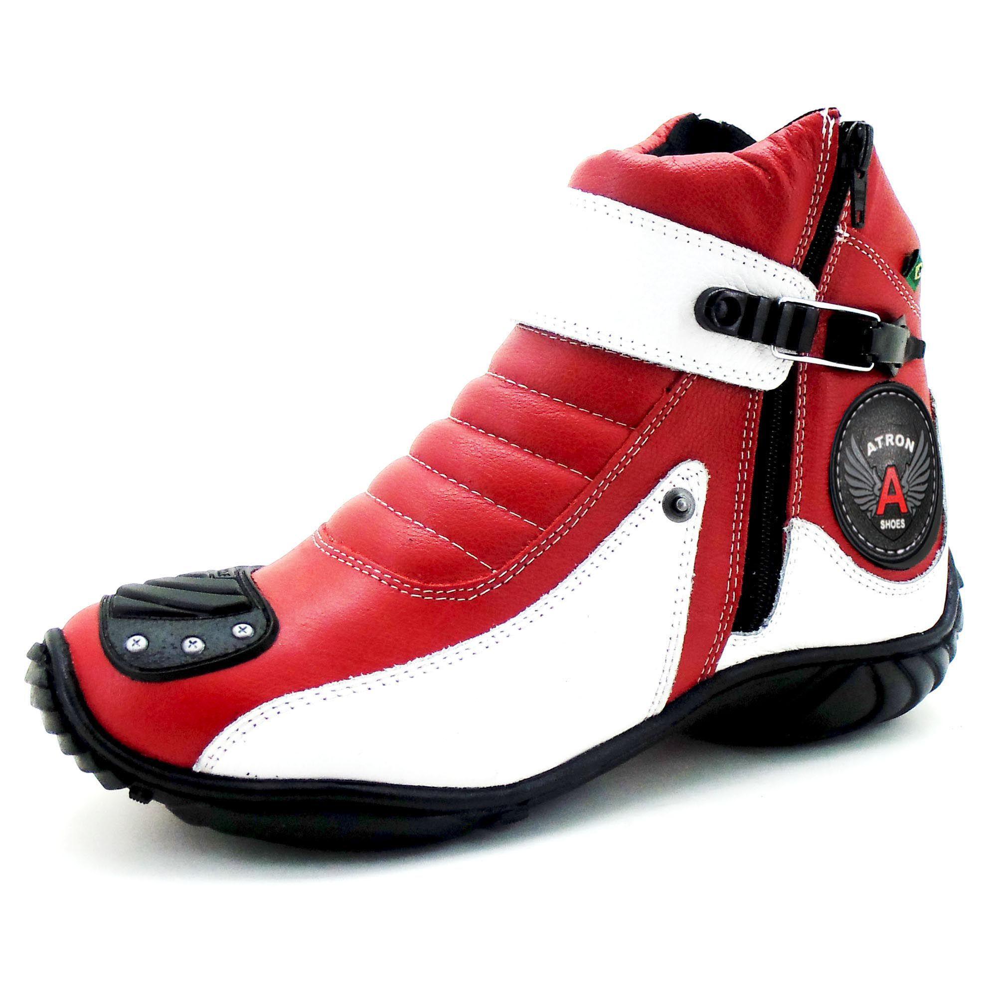 Bota paramotociclista em couro legítimo 271 personalizado vermelho e branco