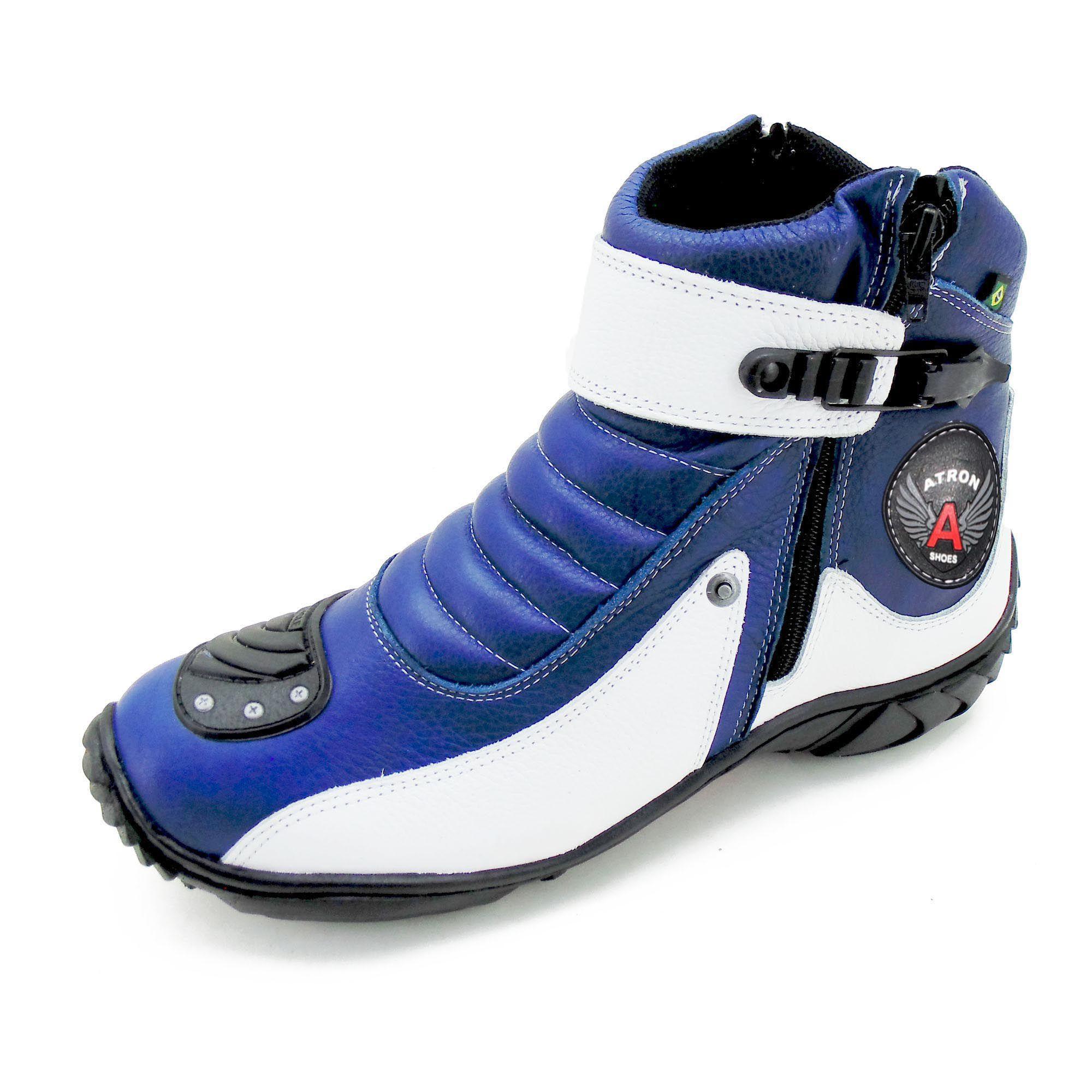 Coturno motociclista em couro legítimo Atron Shoes 271 nas cores azul e branco