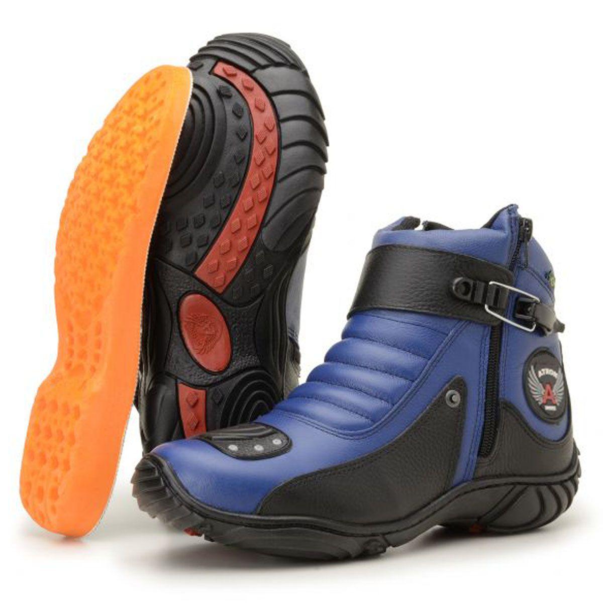 50728aa20b Coturno motociclista em couro legítimo nas cores azul e preto 304