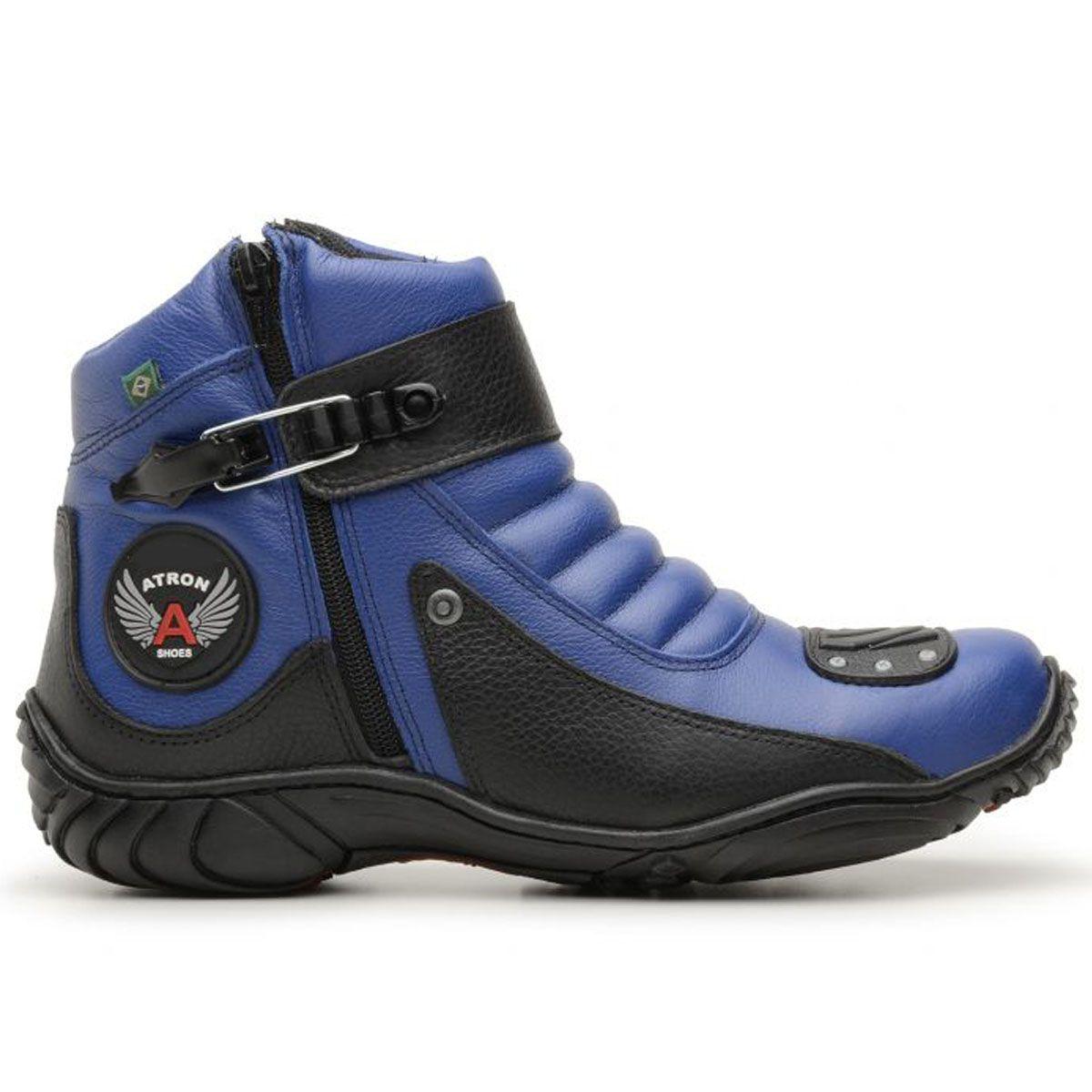 Bota motociclista em couro legítimo nas cores azul e preto 304