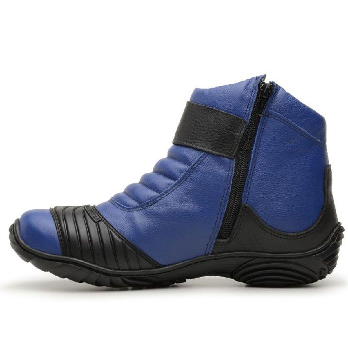 Coturno motociclista em couro legítimo nas cores azul e preto 304