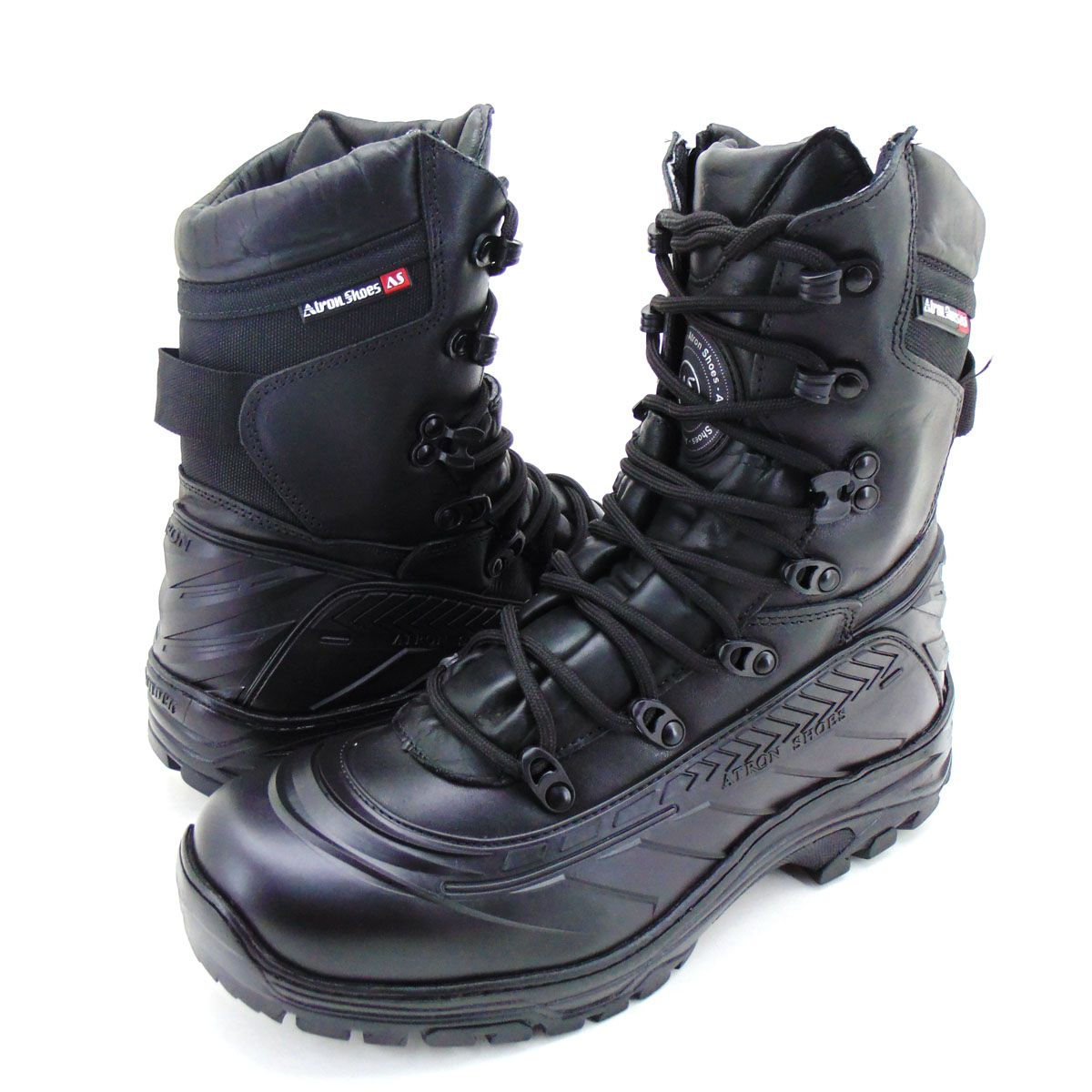 Coturno tático militar de couro Atron Shoes em couro preto 289