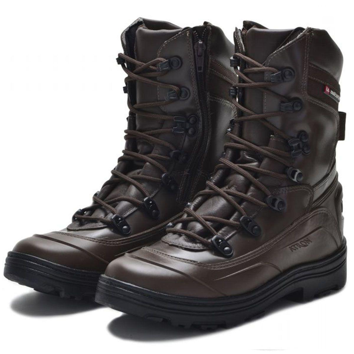 Coturno tático militar de couro Atron Shoes 289 Café