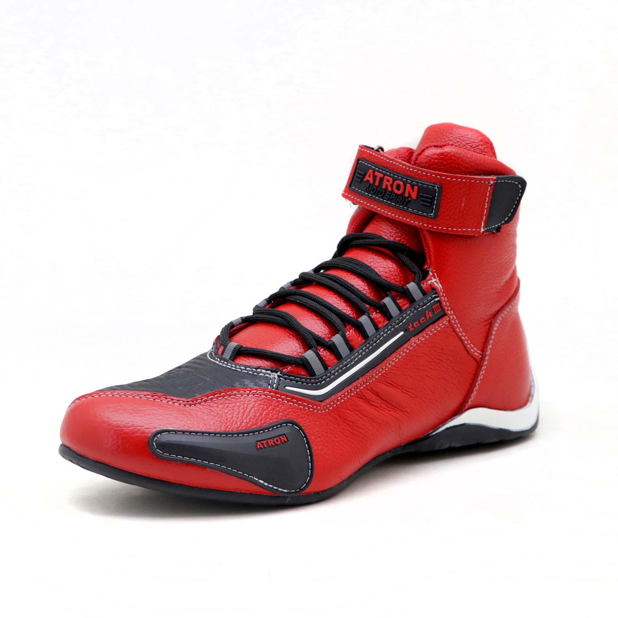 KIT CHINELO Tênis motociclista cano alto em couro legítimo nas cores vermelho e preto 311