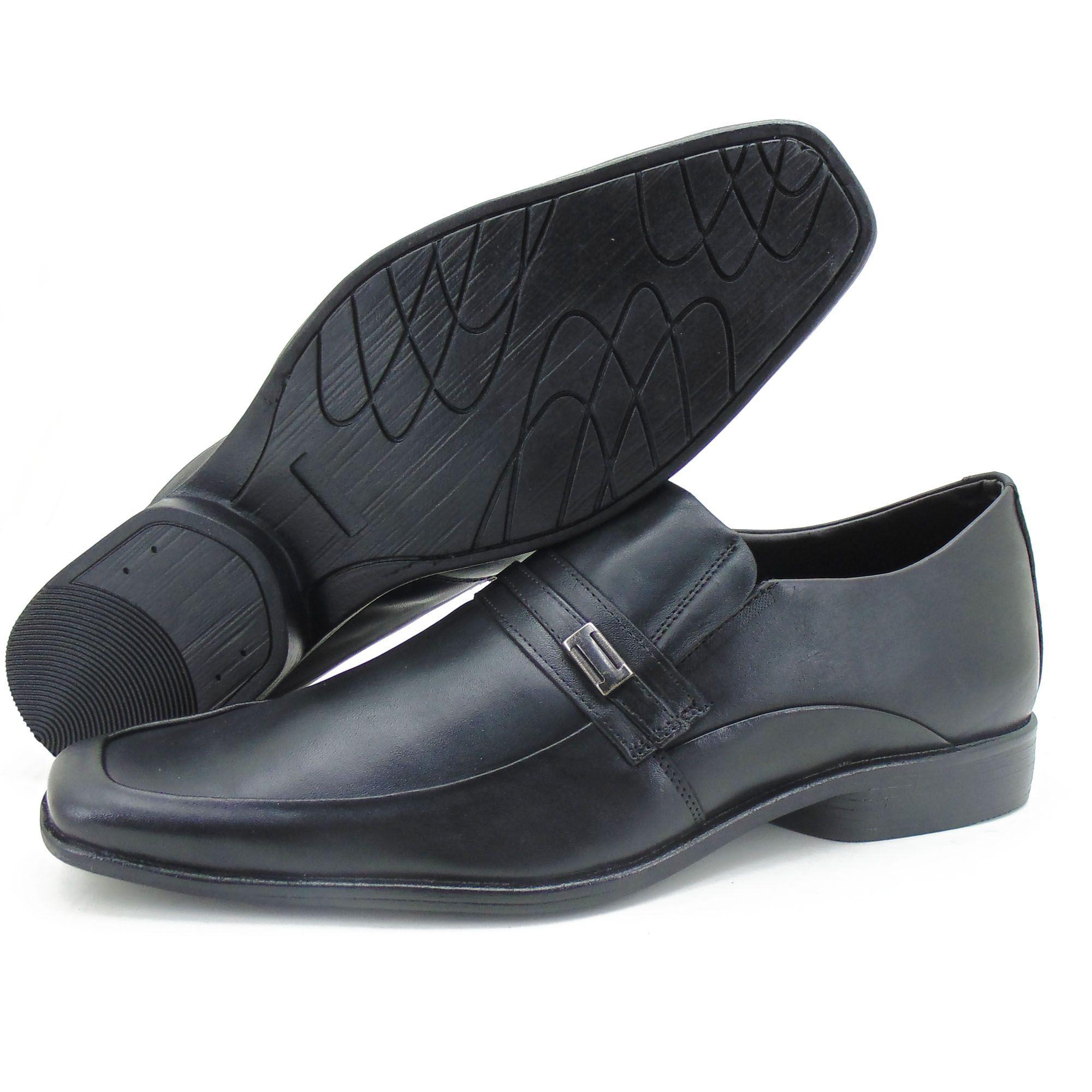 Kit sapato social de couro + carteira