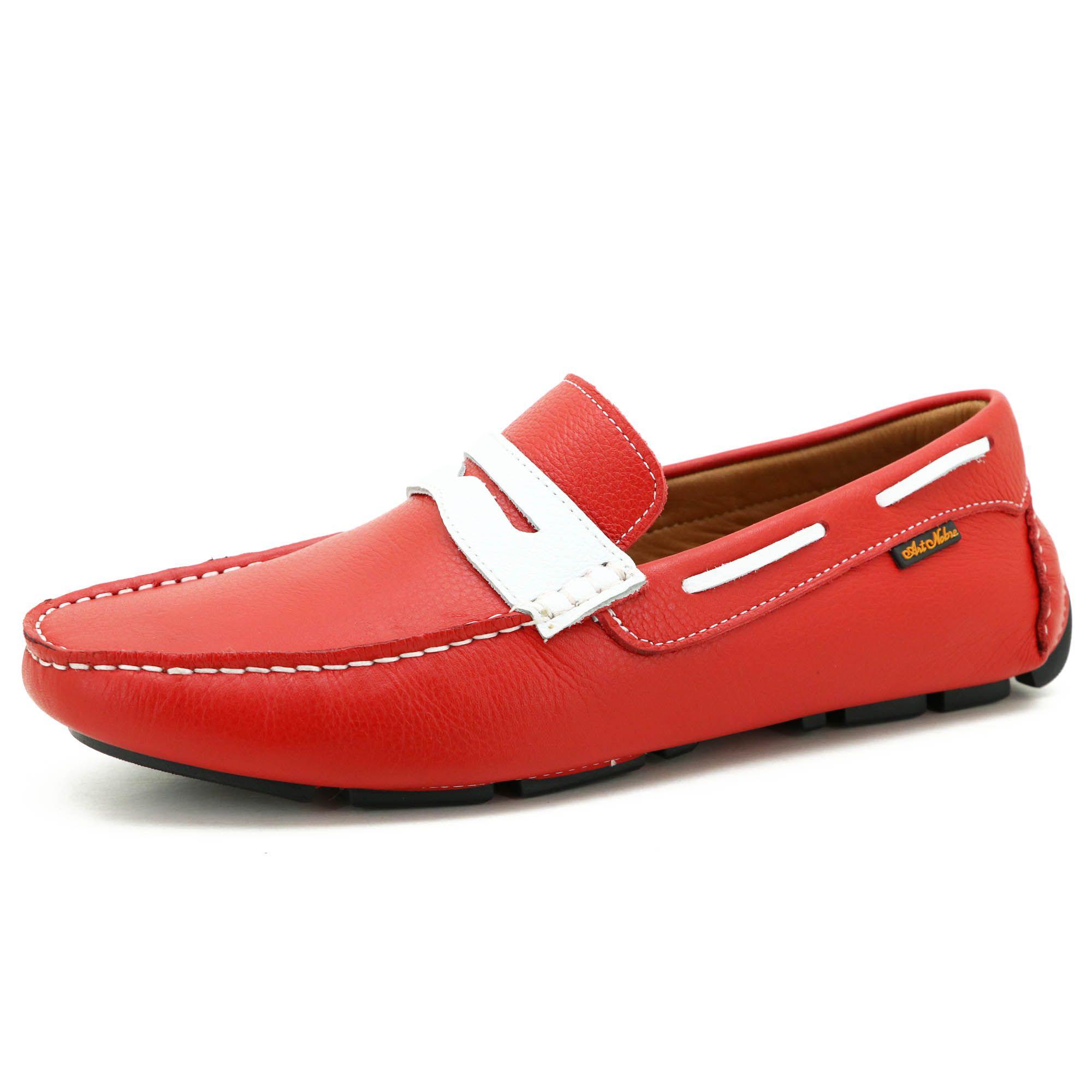 Mocassim dockside masculino em couro vermelho 3453