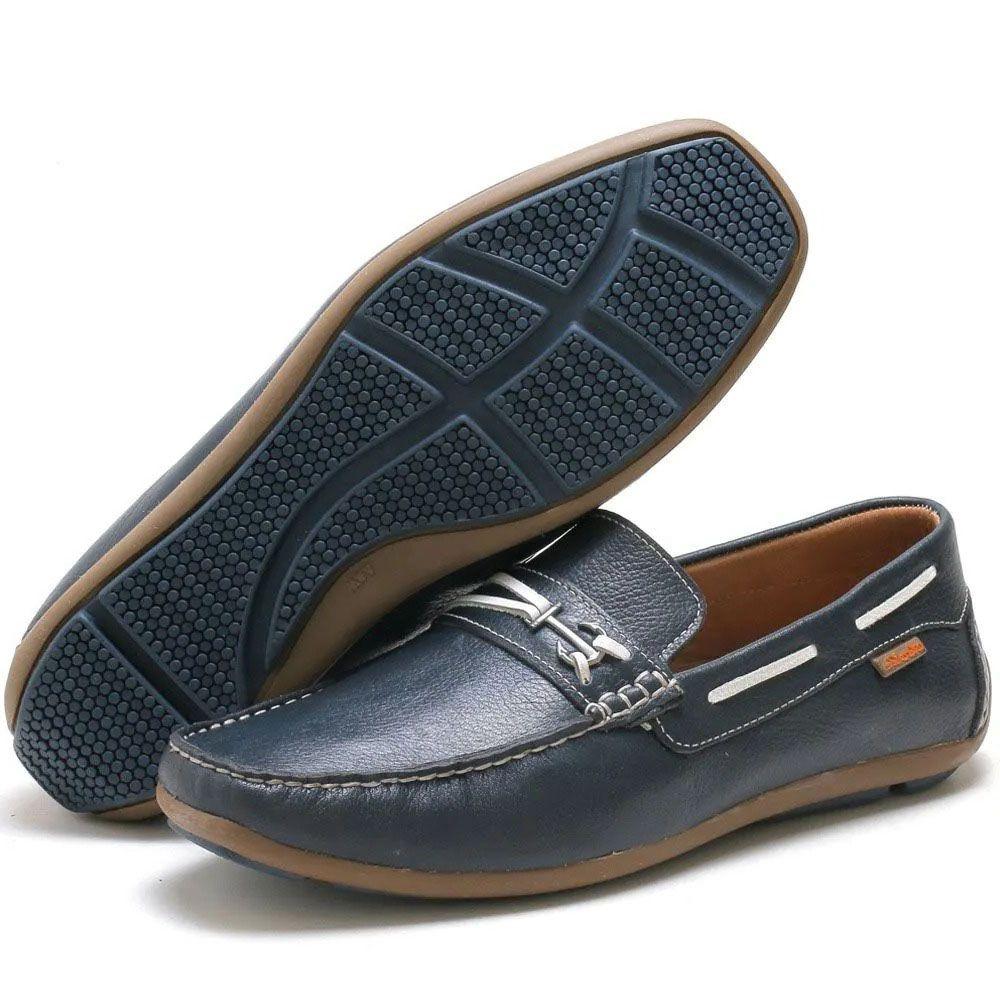 Mocassim masculino azul prayano em couro legítimo 3350