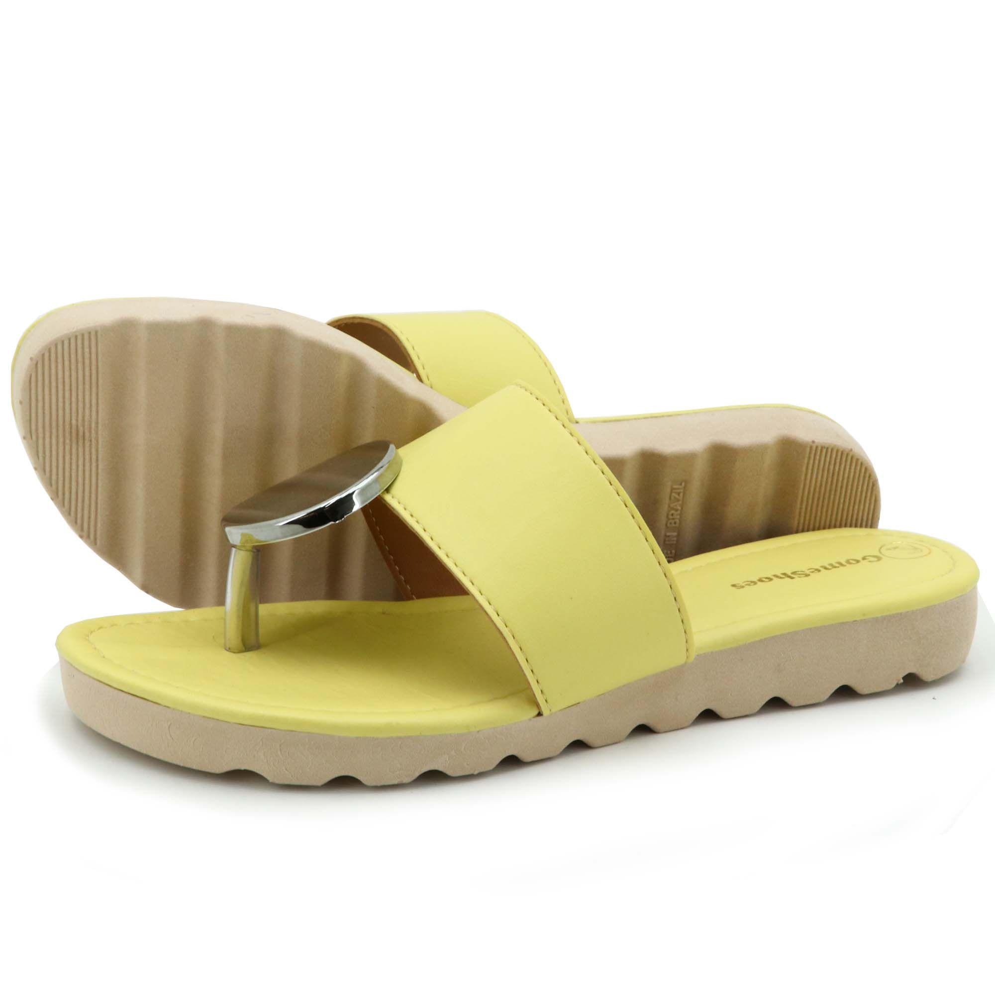 Sandália amarela de couro legítimo feminina com metais 01
