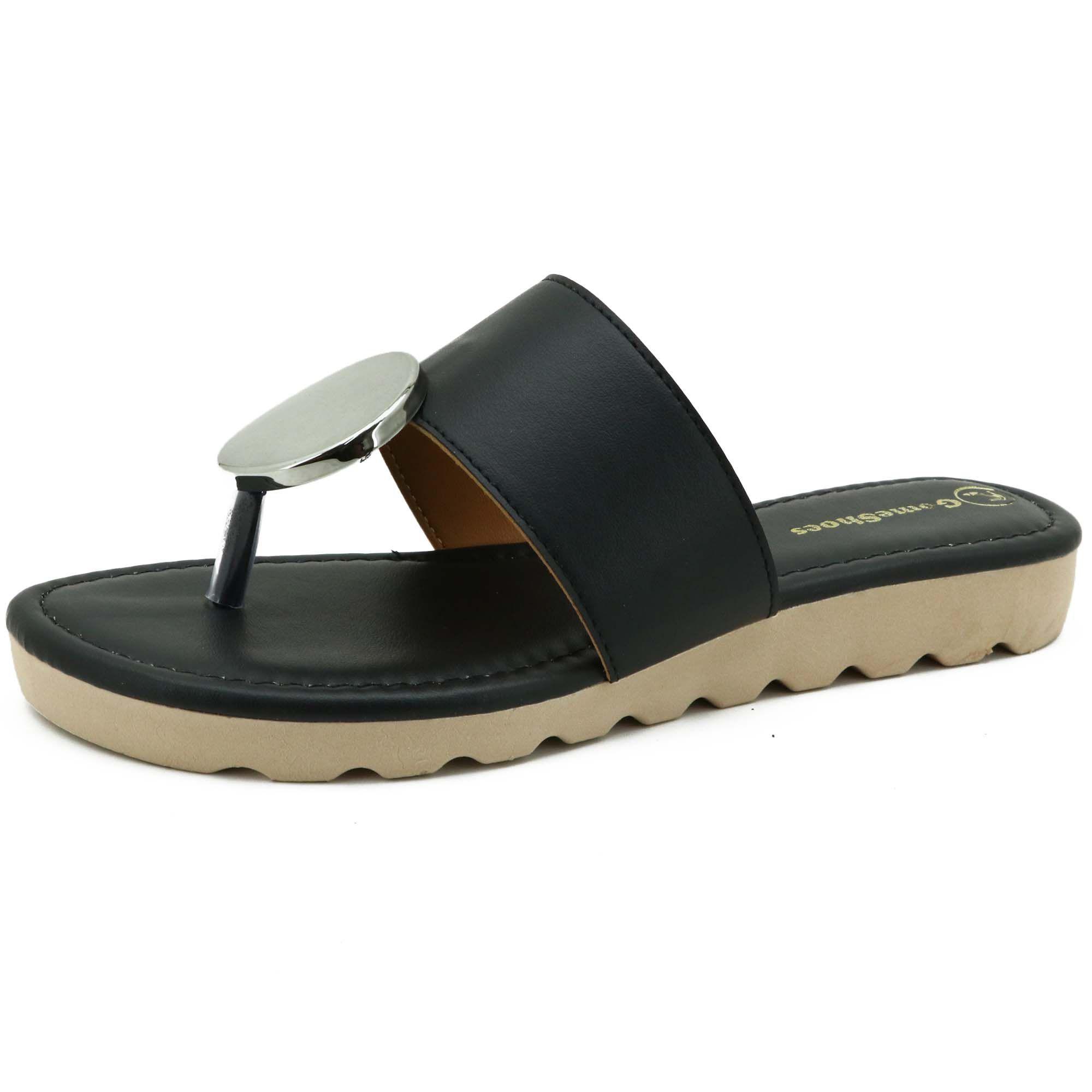 Sandália feminina de couro legítimo na cor preta com metal prata 01