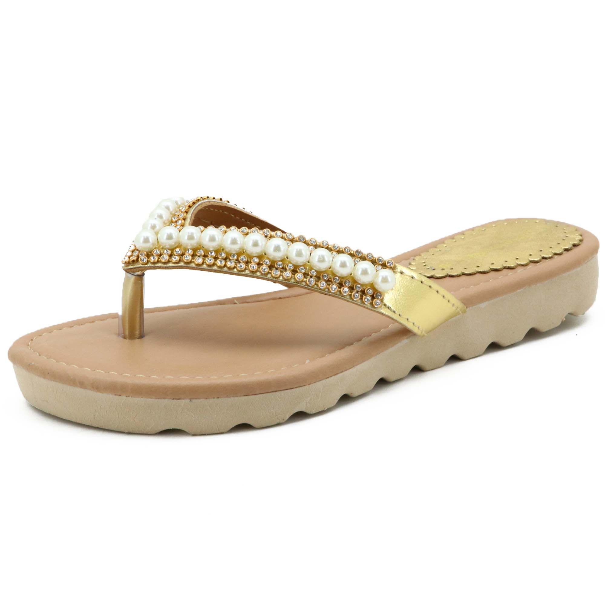 Sandália feminina de dedo dourada com metais em couro