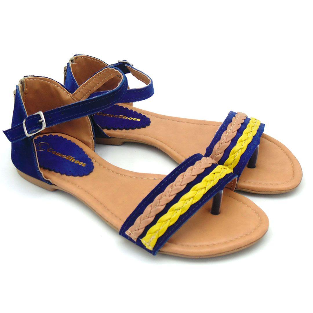 Sandália feminina rasteirinha azul e amarela