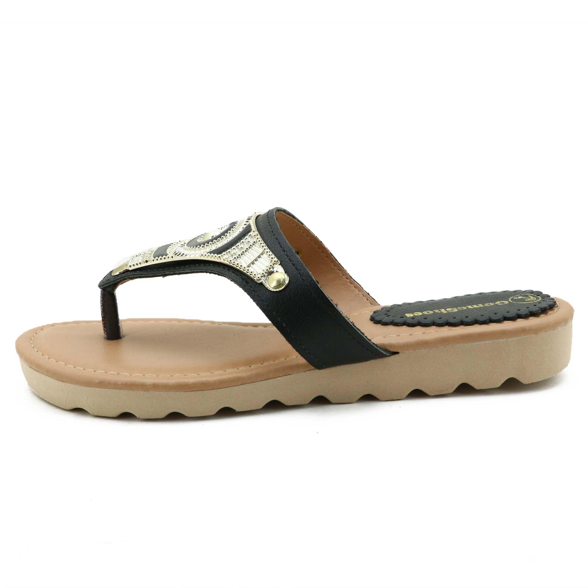Sandália preta de dedo feminina em couro legítimo com pedras e metais 05