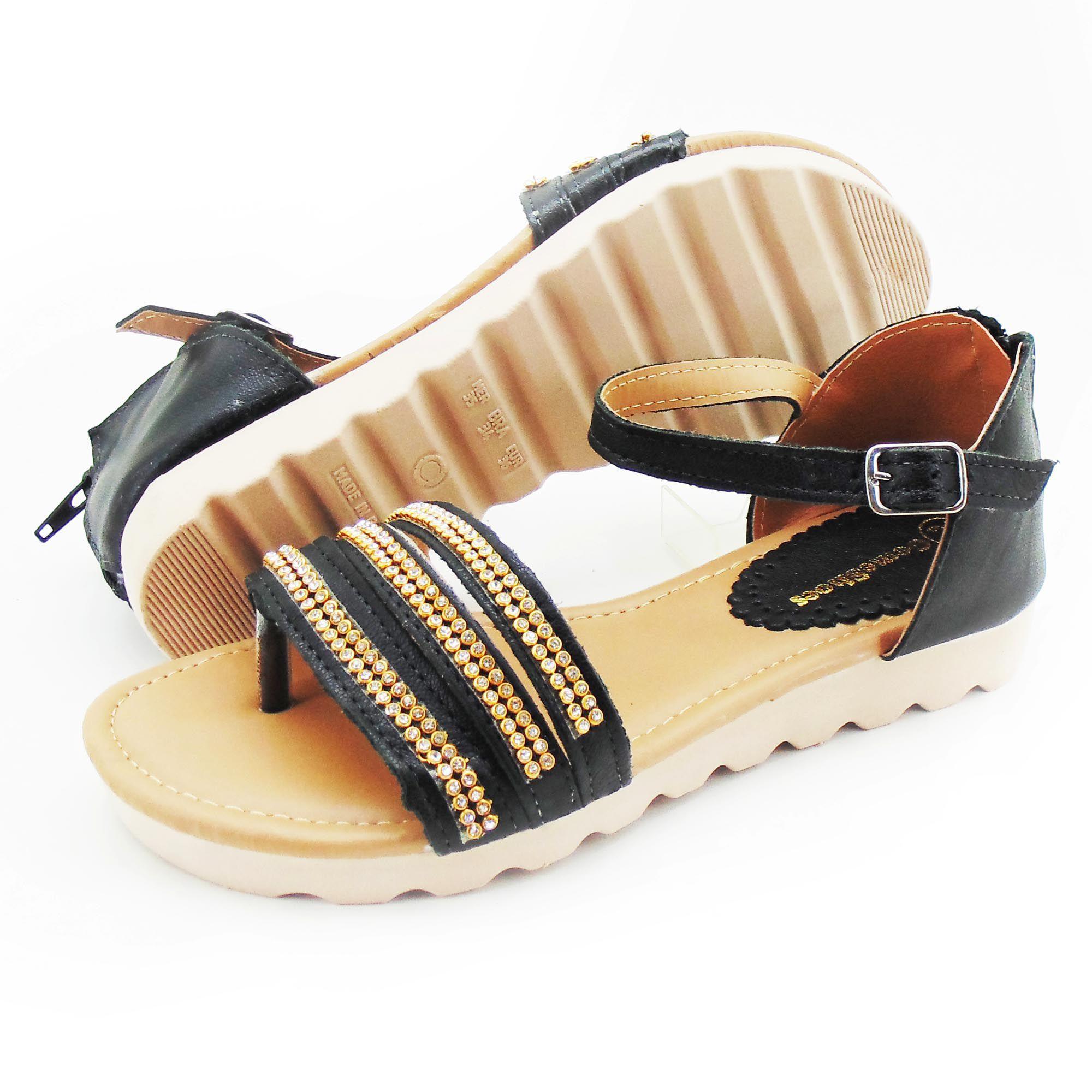 Sandália rasteirinha feminina de couro na cor preta