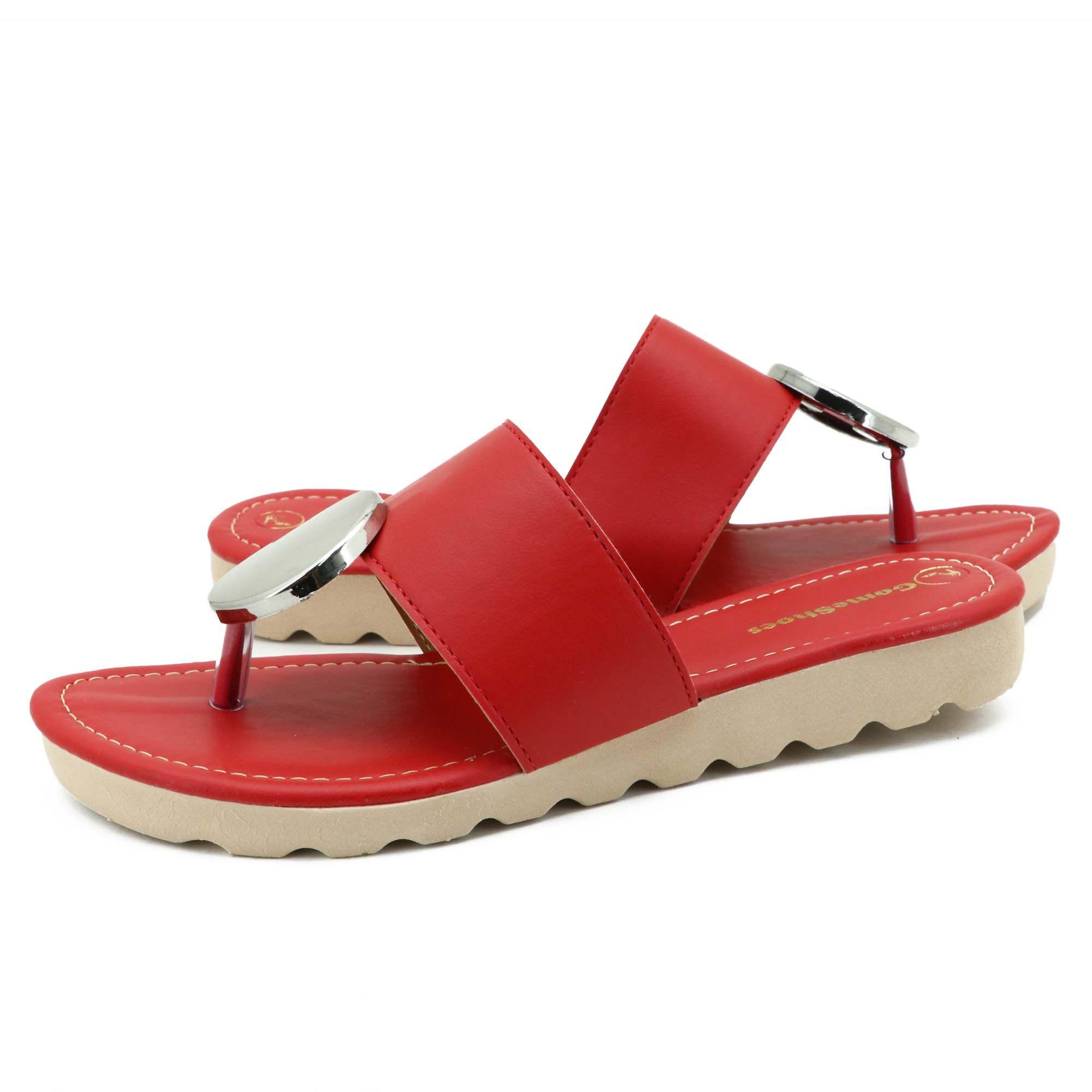 Sandália rasteirinha feminina vermelha casual com metal prata 01