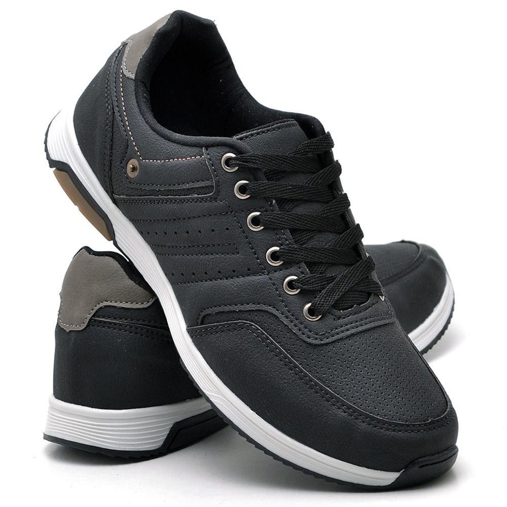 Sapatênis Atron Shoes de couro na cor preta 077
