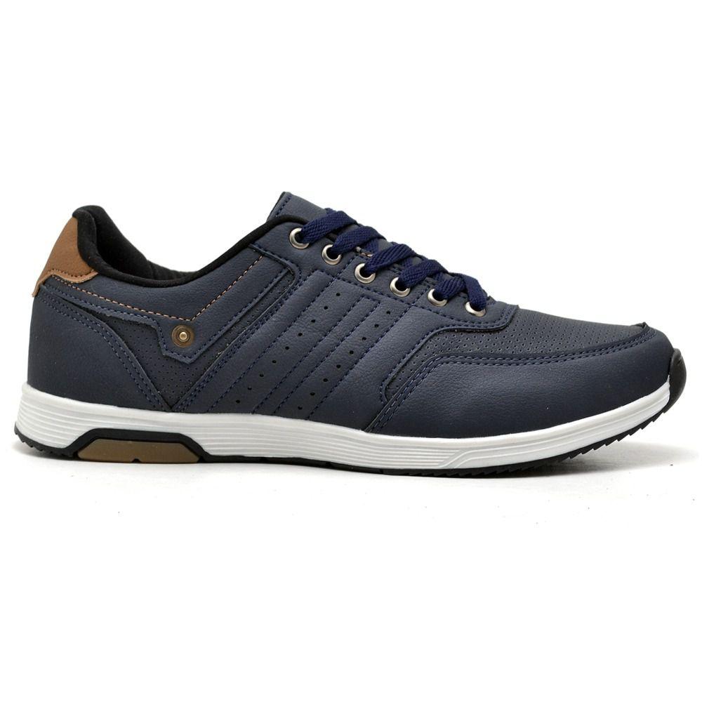 Sapatênis de couro resistente e confortável na cor azul marinho 077