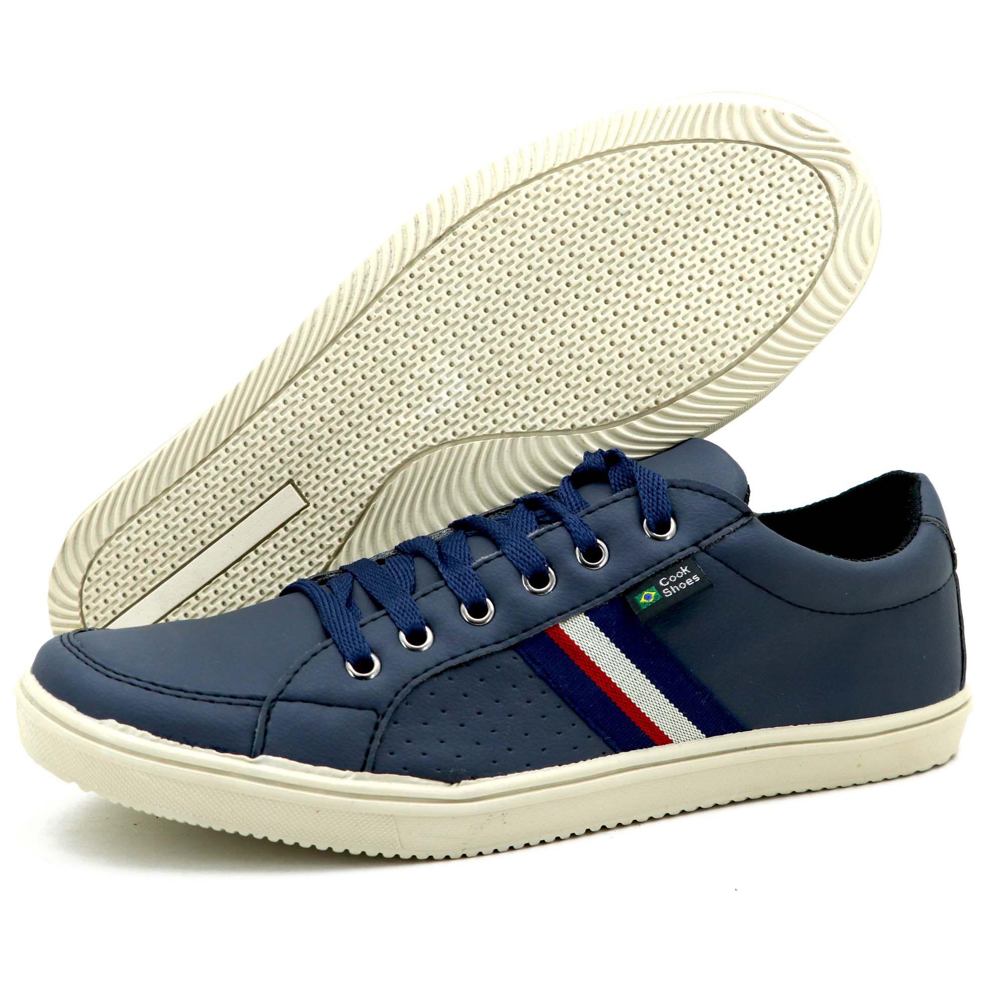 Sapatênis de couro técnologico Atron Shoes na cor azul 9001-GRÁTIS 1 CARTEIRA