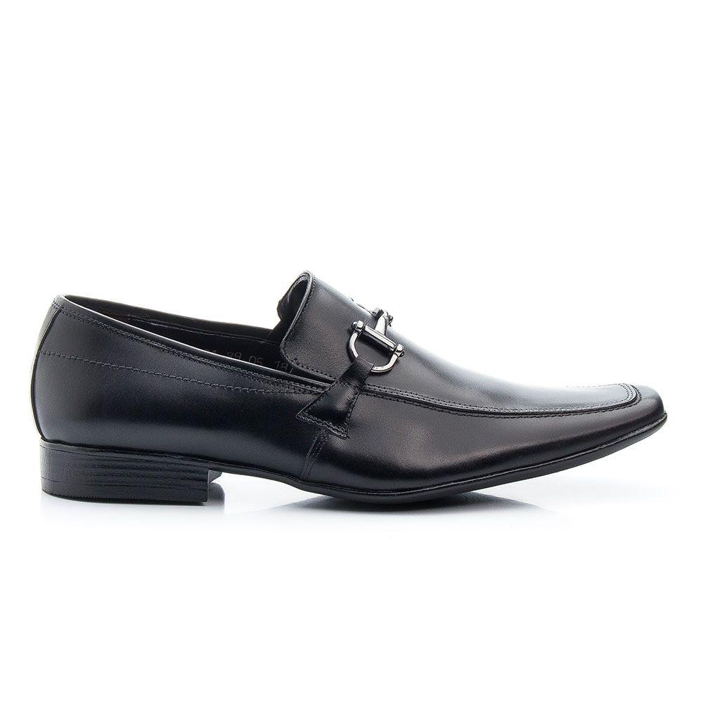 Sapato social estiloso masculino em couro legítimo preto 404