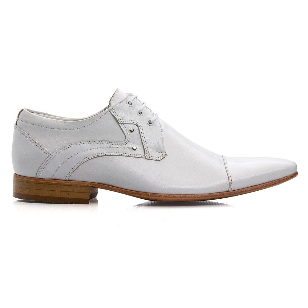 Sapato branco social em couro legítimo italiano bico fino 376
