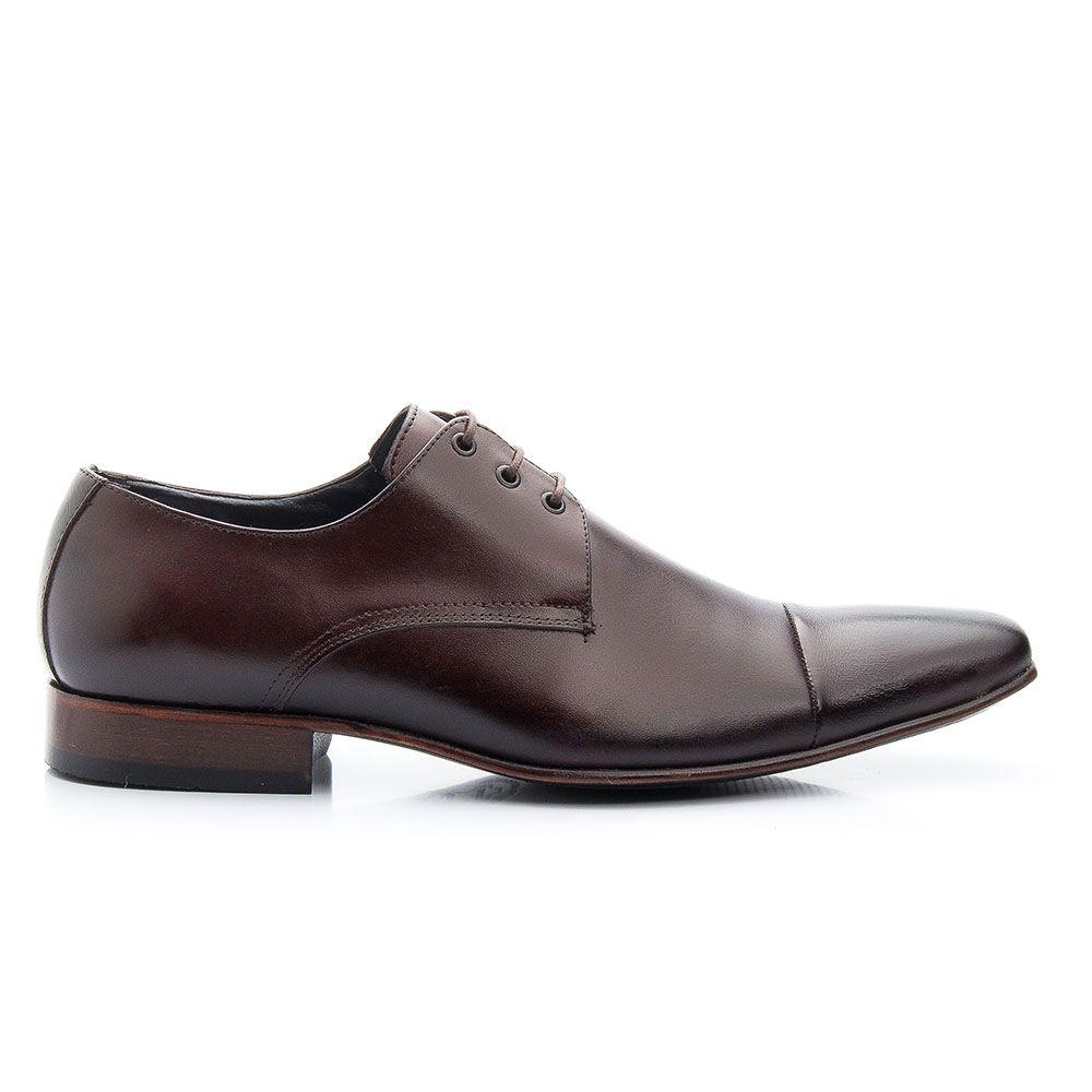 Sapato café social bico fino solado de couro 307