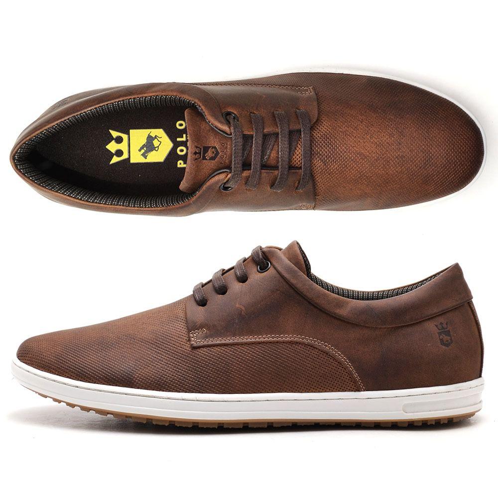Sapato casual de  Couro Legítimo na cor café 131