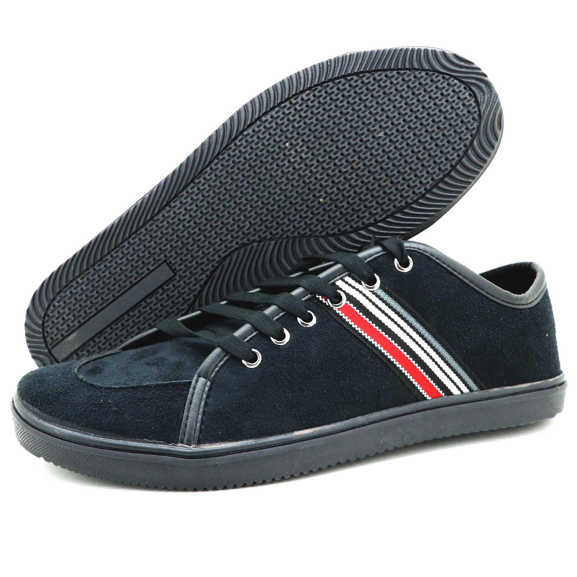 Sapato casual de couro técnologico na cor preta 9001-GRÁTIS 1 CARTEIRA