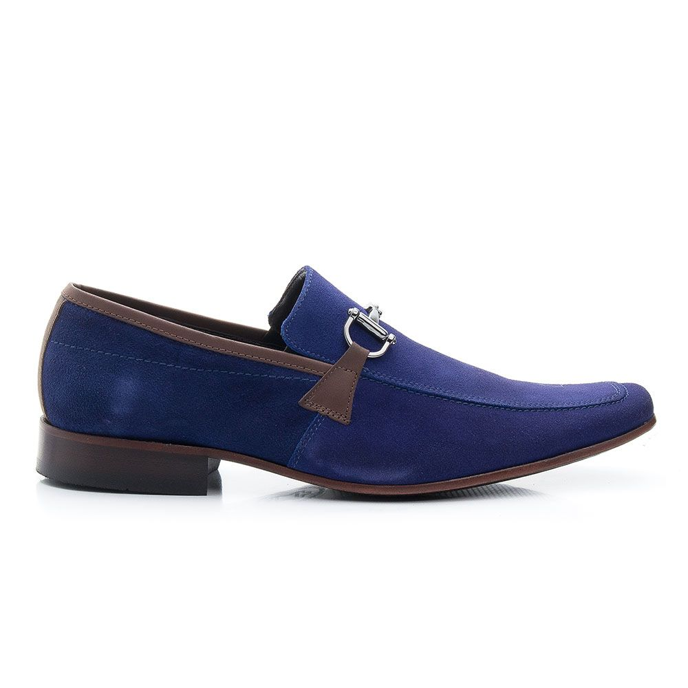Sapato de camurça azul royal com fivela 404