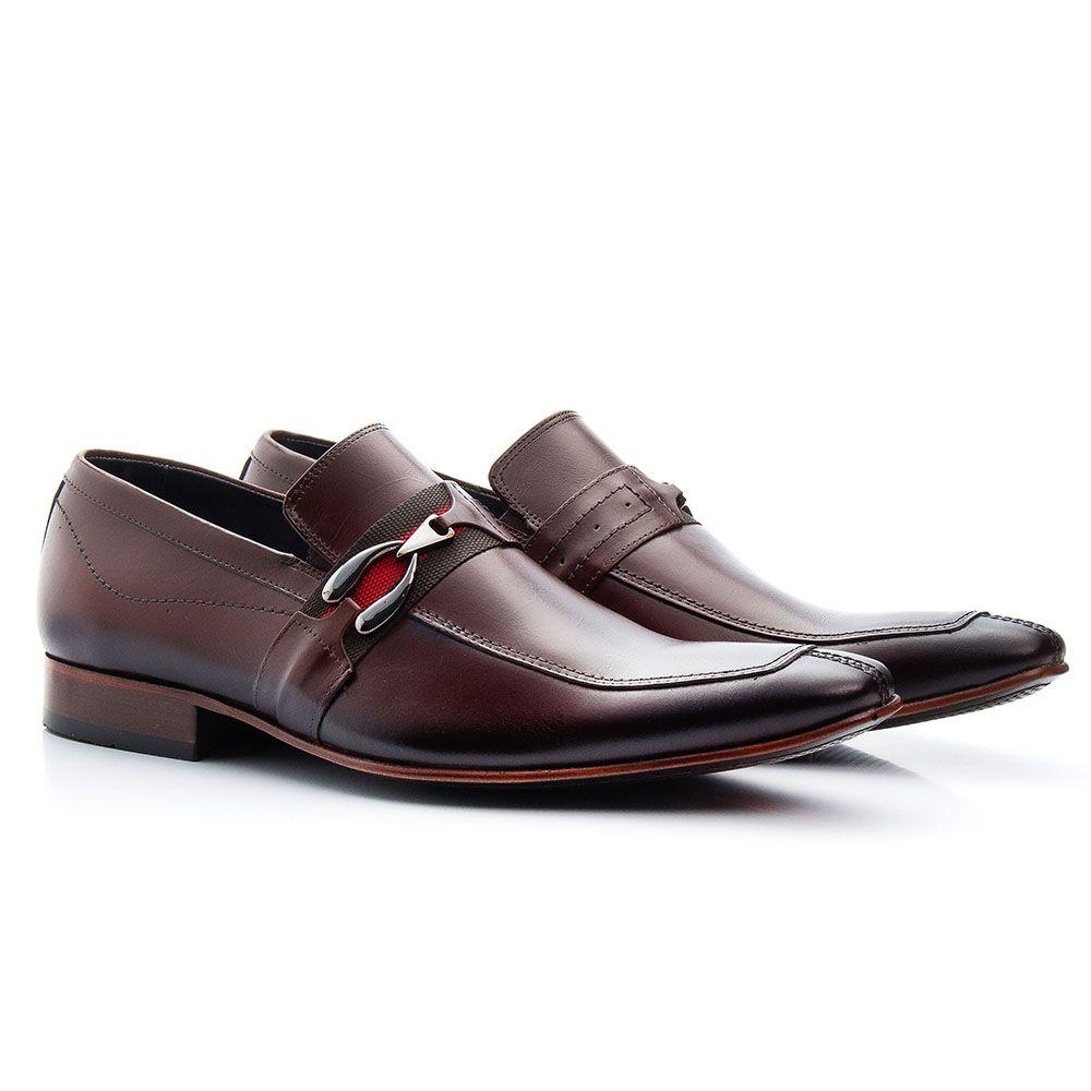 Sapato masculino café mouro em couro legítimo com fivela têxtil 312