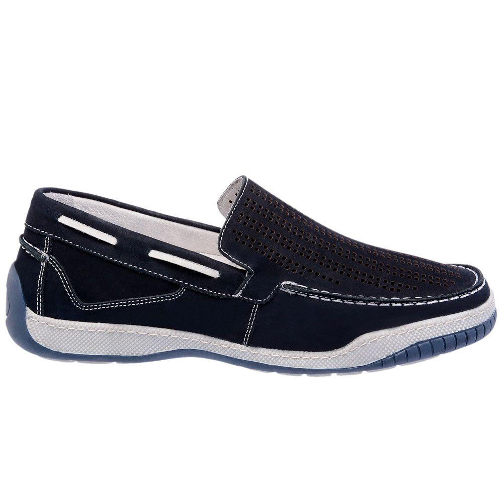 Sapato masculino de calçar em couro legítimo com micro furos na cor azul 6008