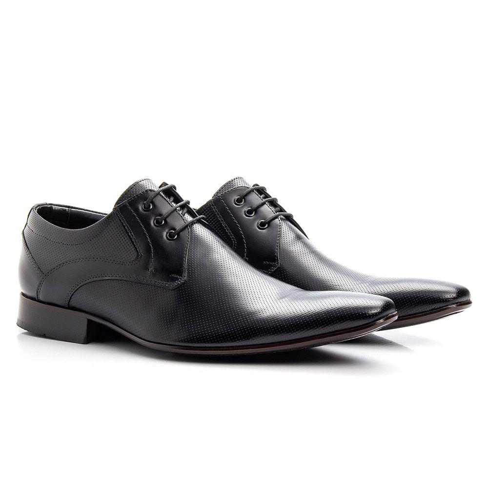Sapato masculino preto de couro cromo microfuros 379