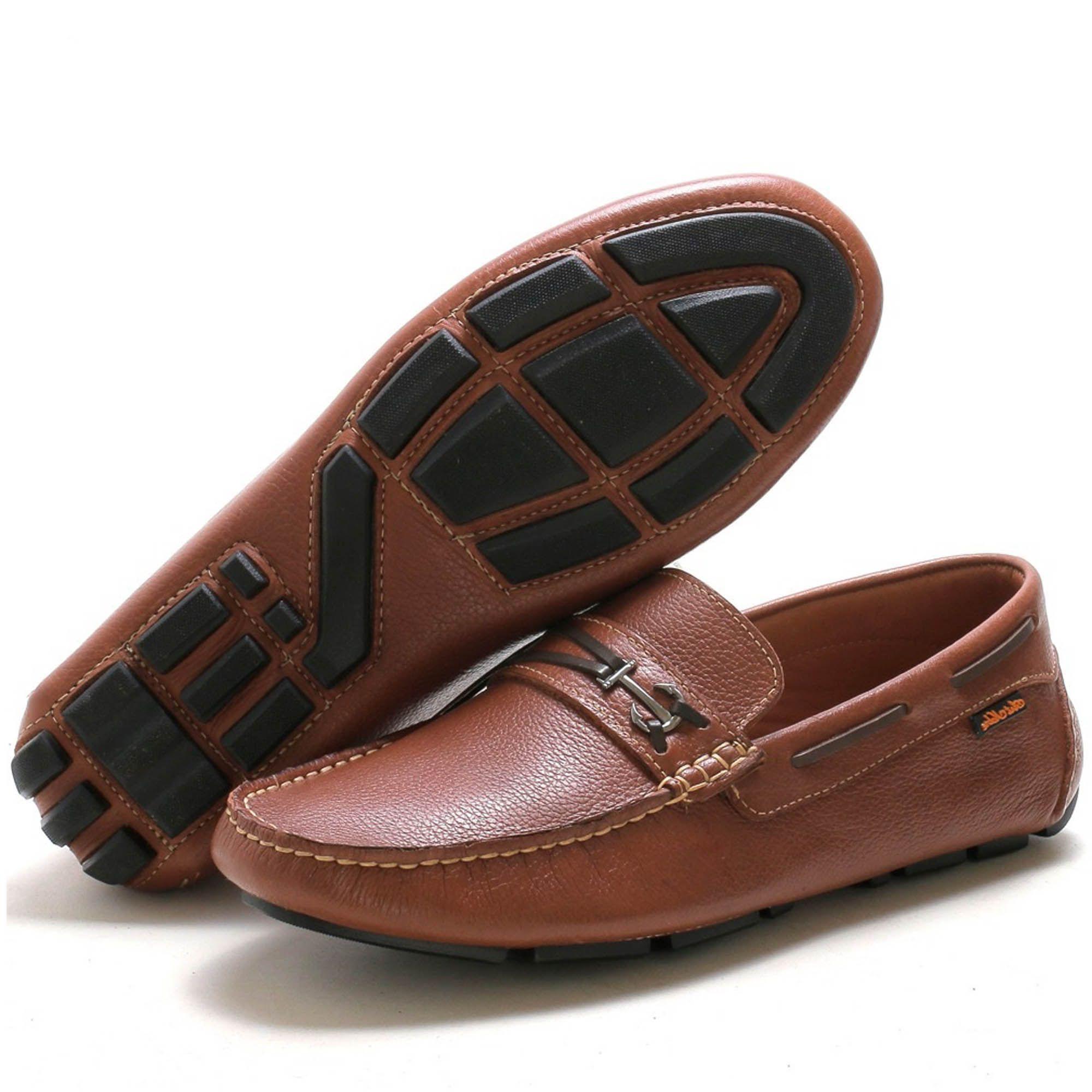 Sapato Mocassim dockside masculino em couro na cor havana 3460