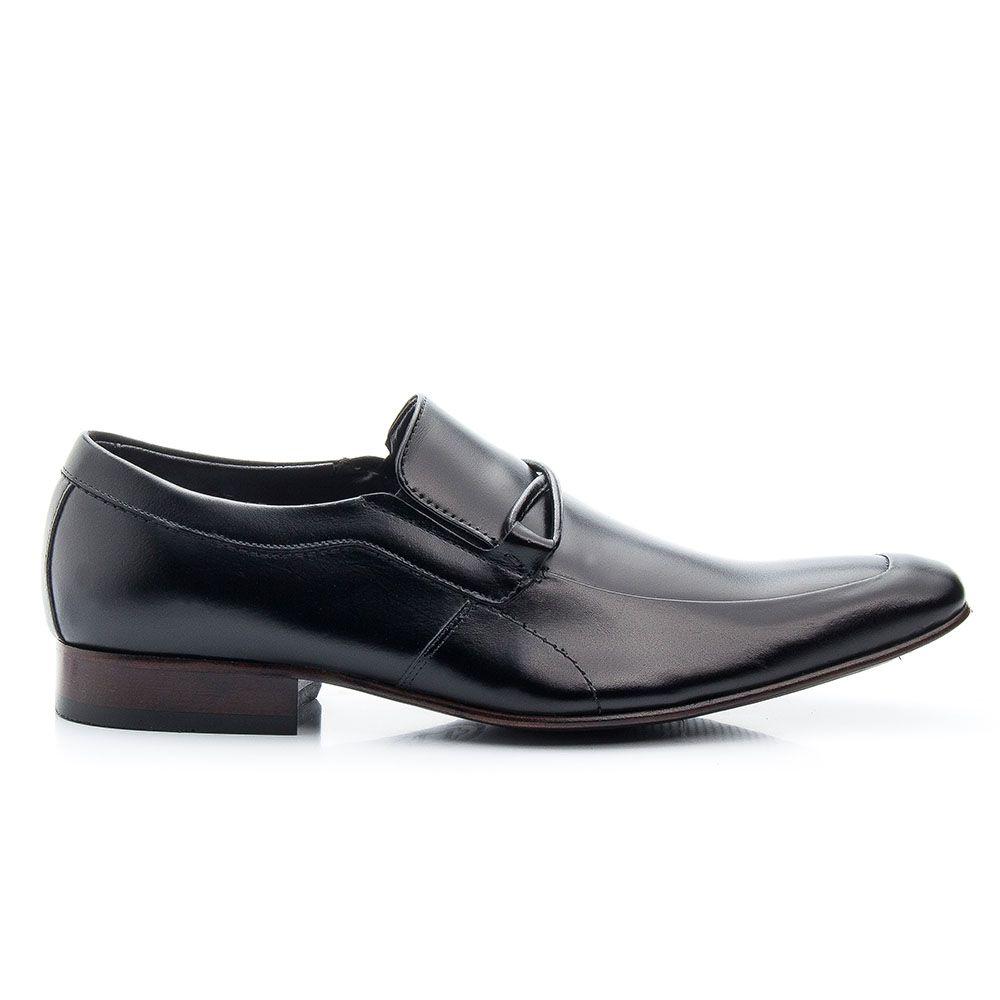 Sapato preto de couro legítimo social de calçar 353